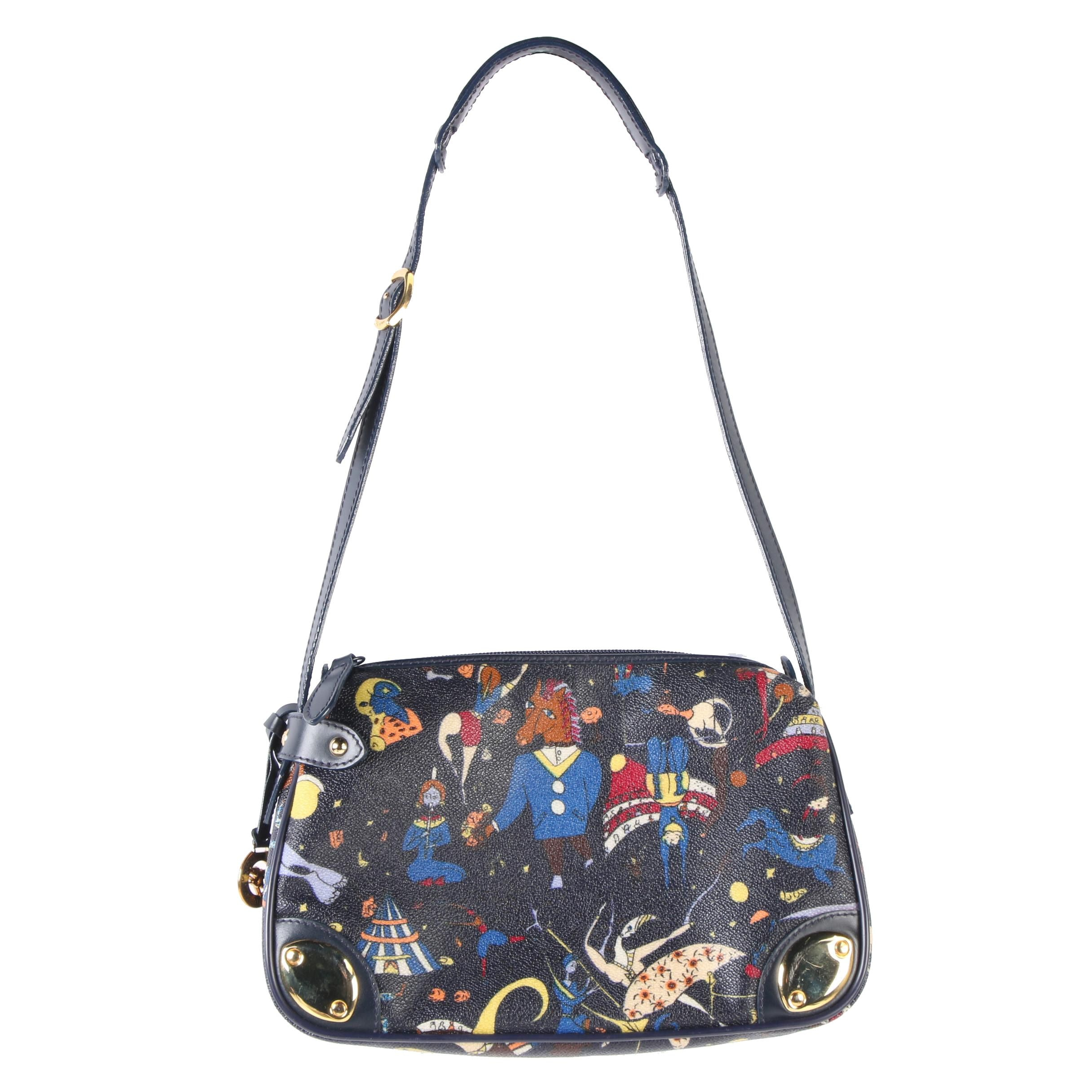 Piero Guidi Angels of Our Time Shoulder Bag in Coated Canvas and Leather