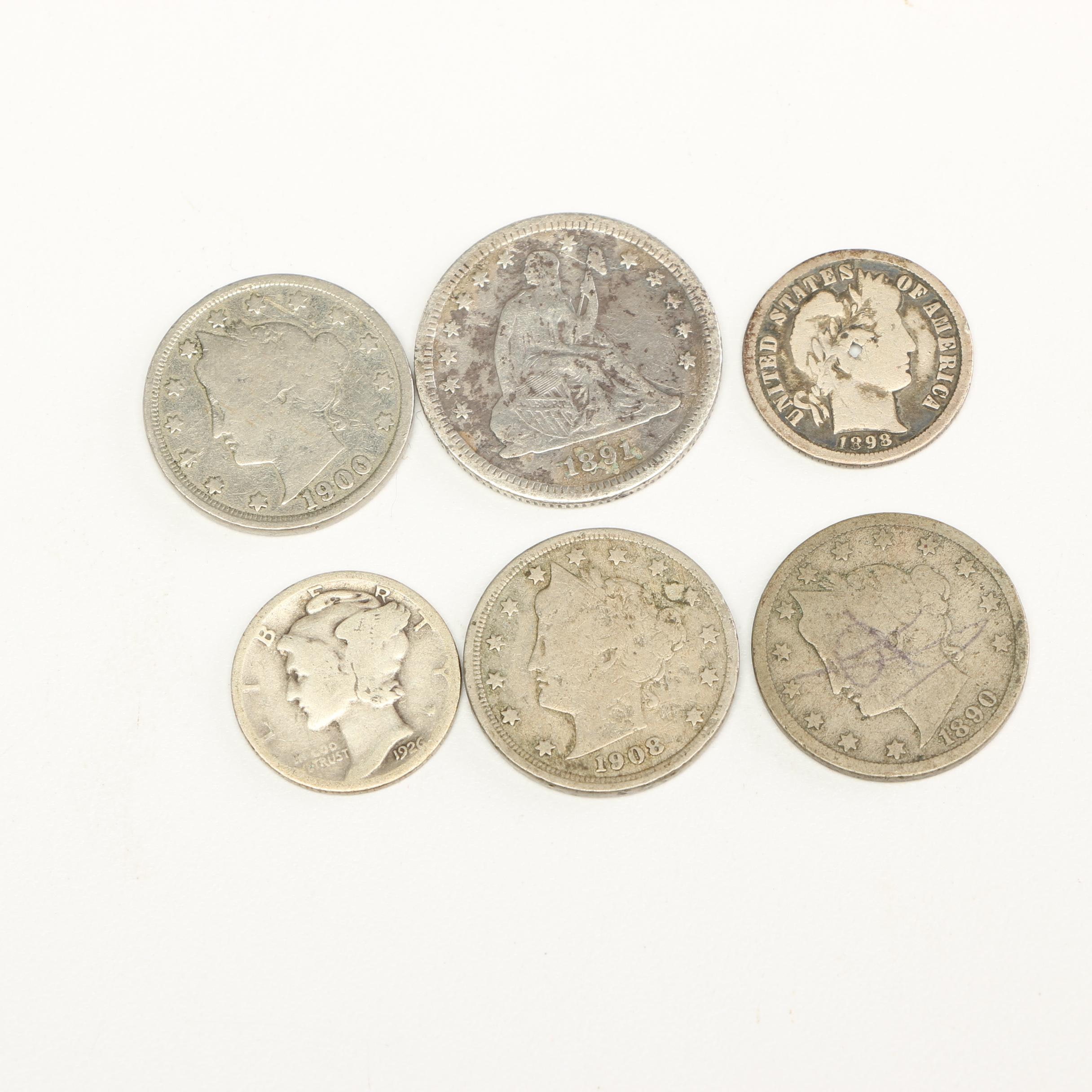 Collection of Antique U.S. Coinage including an 1891 Liberty Seated Quarter