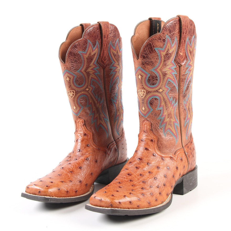 0734d3ea032 Women's Ariat Tombstone Full Quill Ostrich Skin Square Toe Western ...