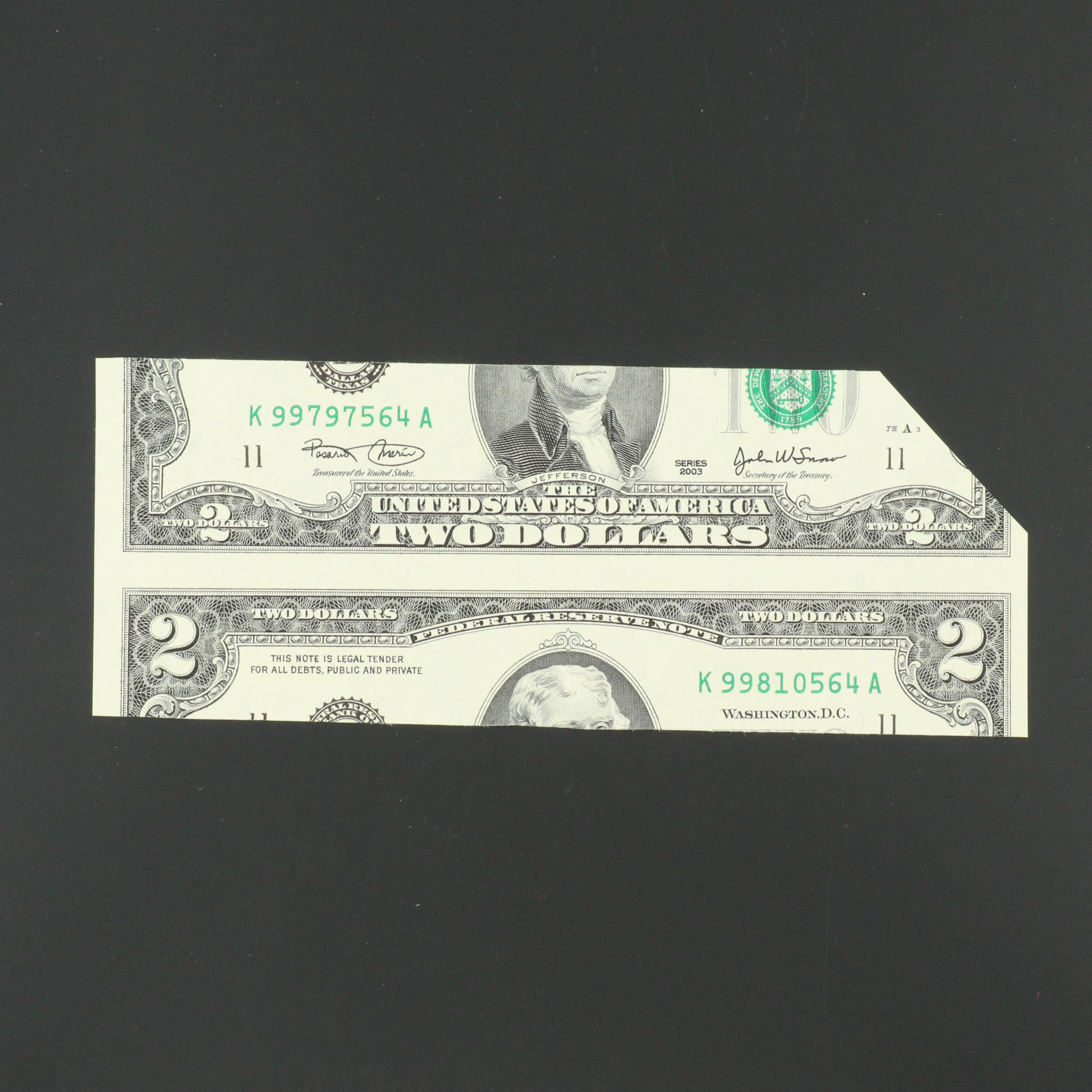 Series of 2003 $2 Federal Reserve Note with False Cut Error