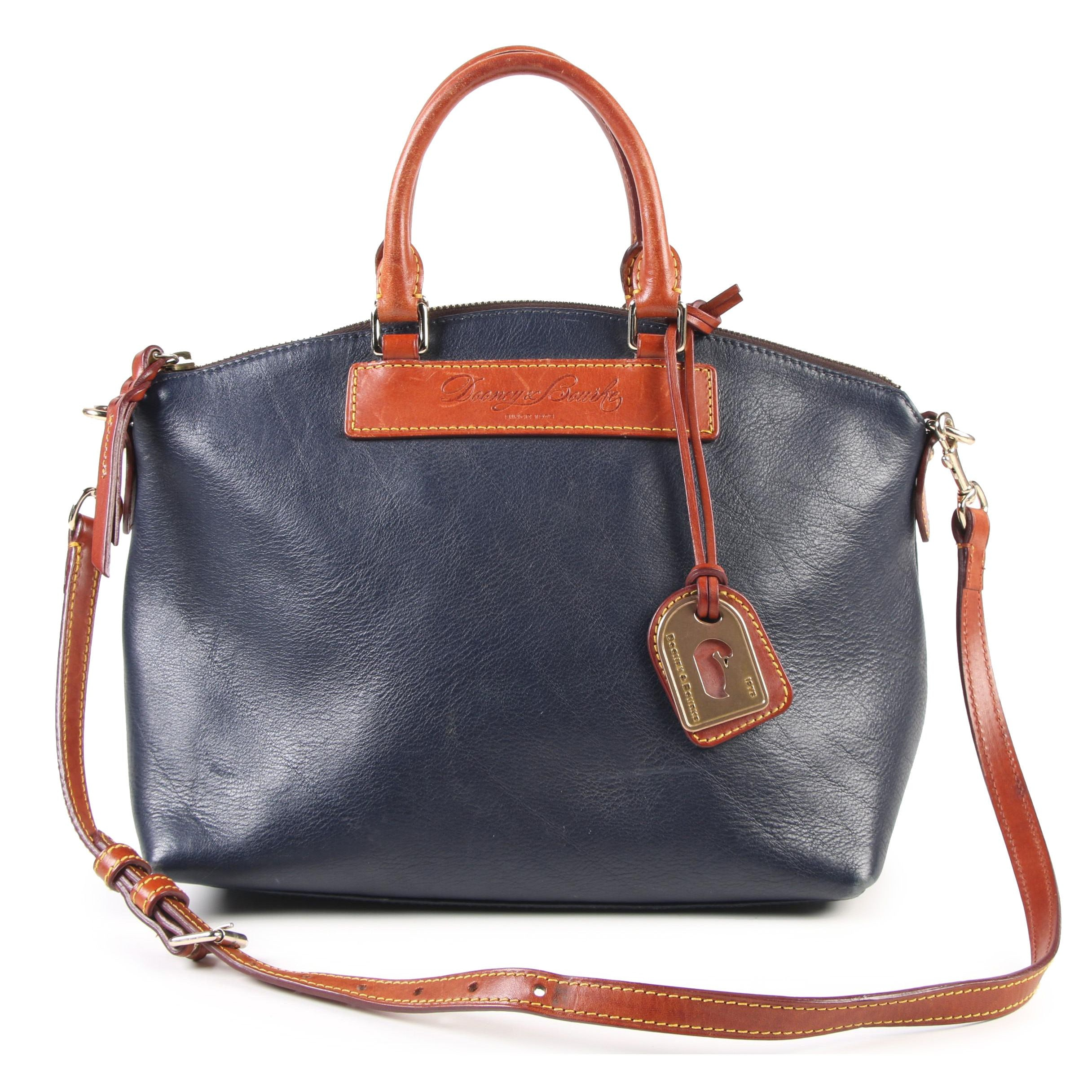 Dooney & Bourke Florentine Leather Collection Navy Blue and Tan Leather Satchel