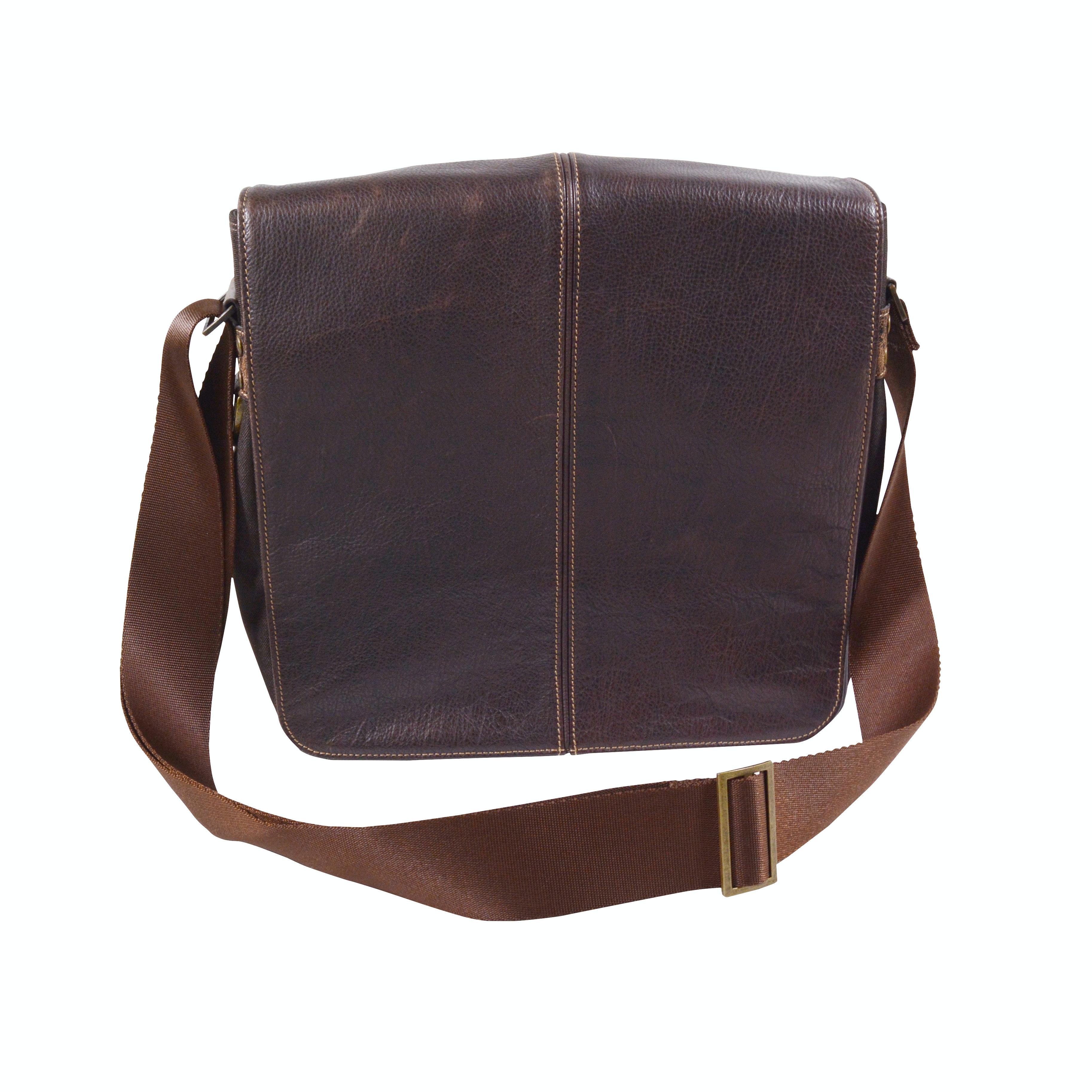 Boconi Brown Small Leather and Nylon Messenger Bag