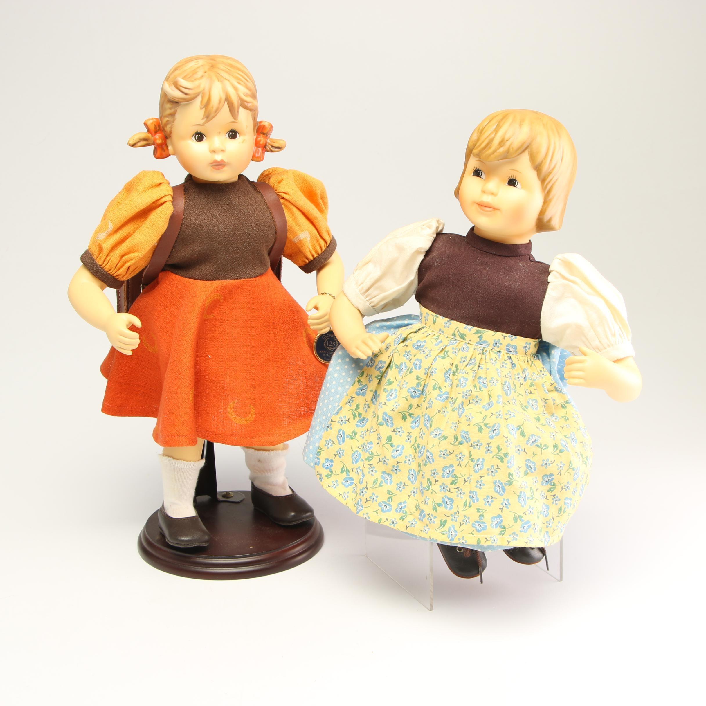 Goebel Porcelain Dolls Including 125th Anniversary Schoolgirl Doll