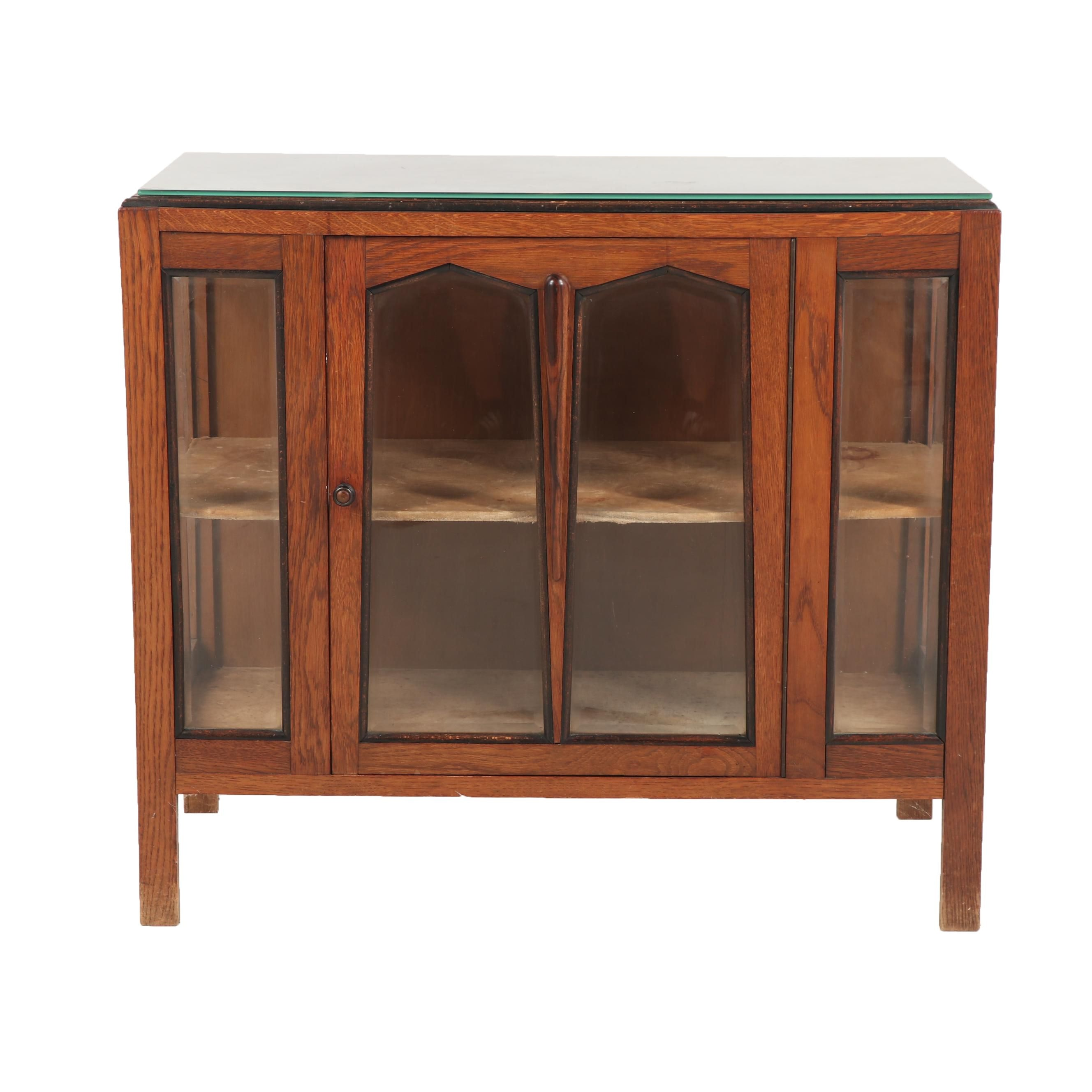 Display Cabinet with Mirrored Top, Mid 20th Century