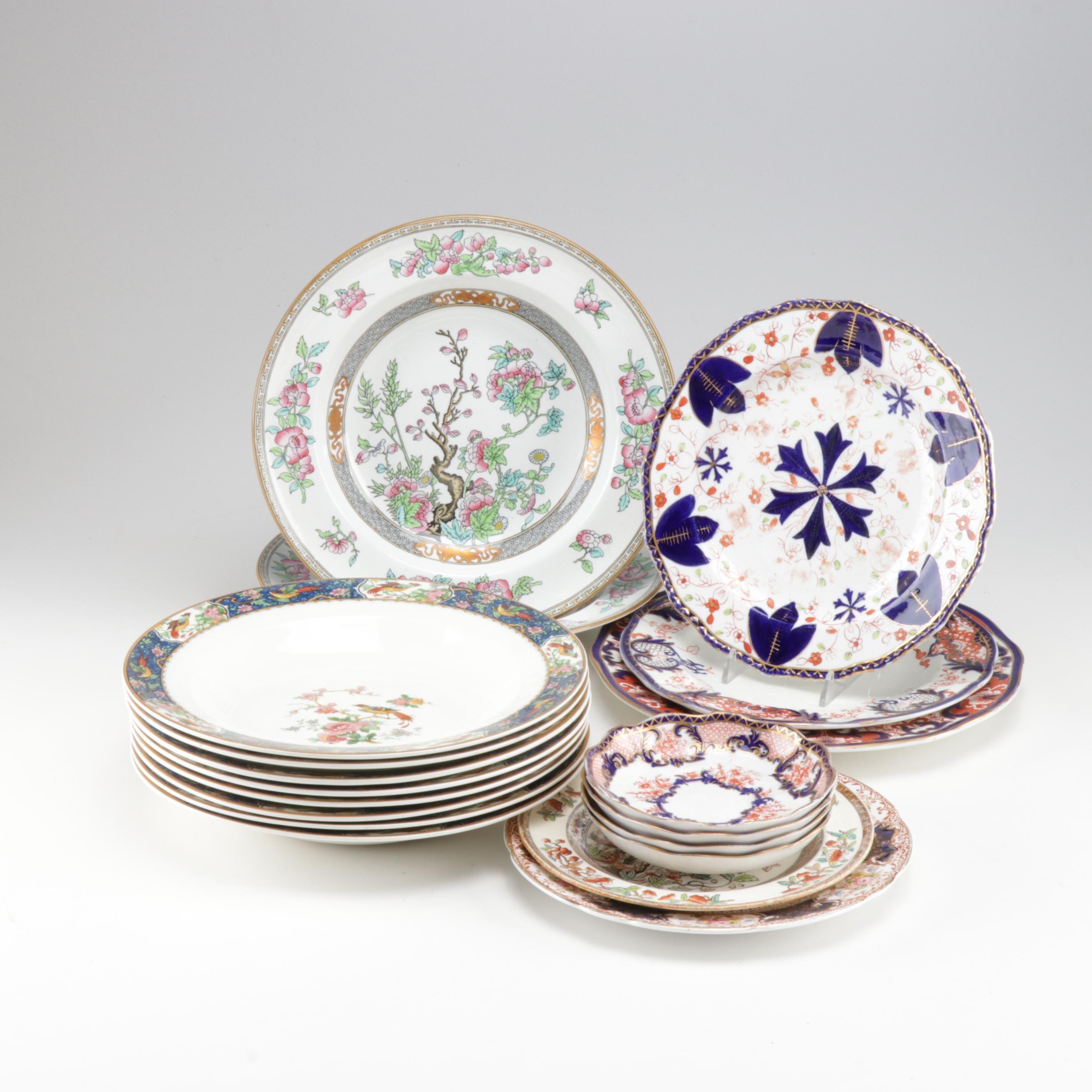Asian Motif Bowls and Plate Assortment