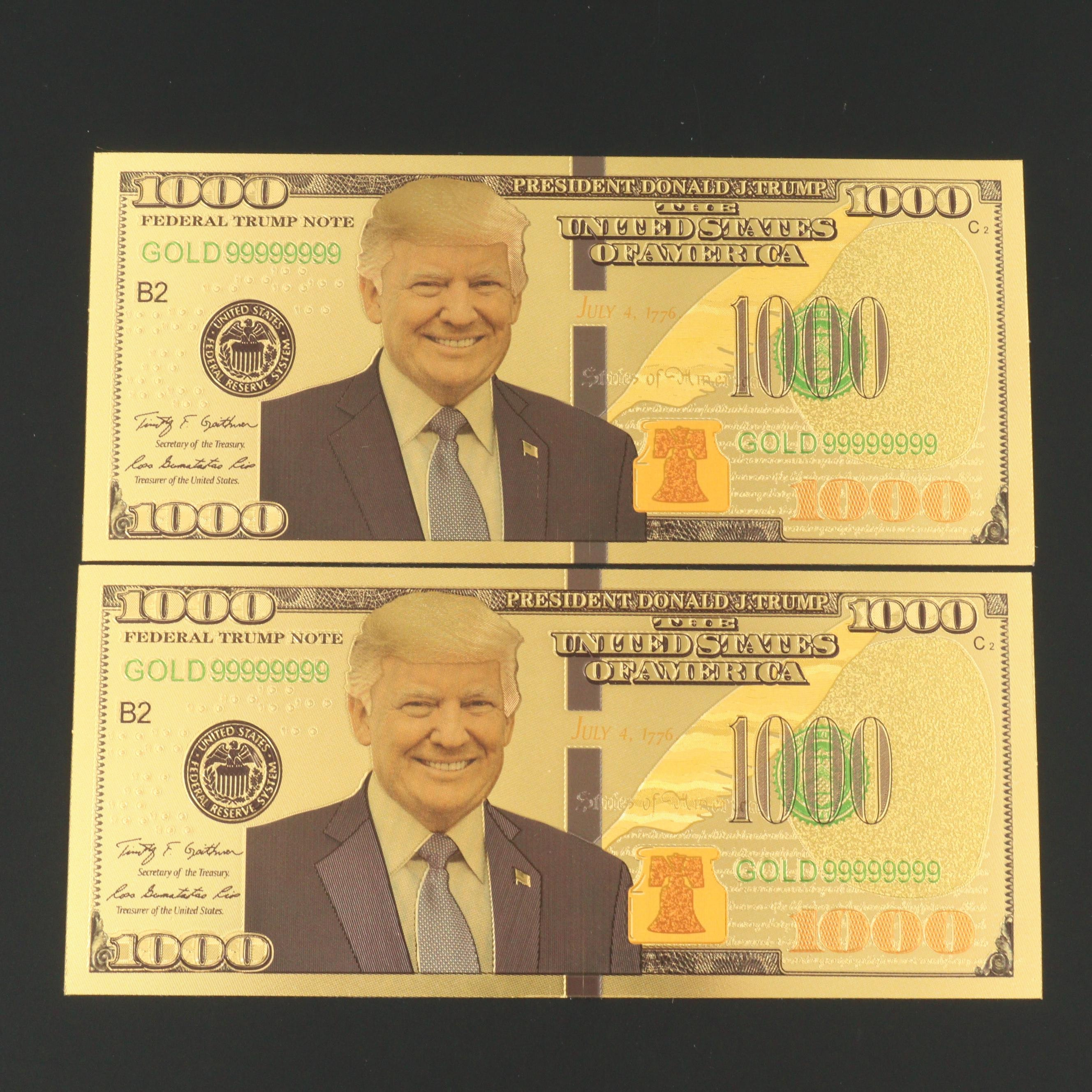 Two Donald Trump 1000 Dollars 24K Gold Coated Commemorative Banknote