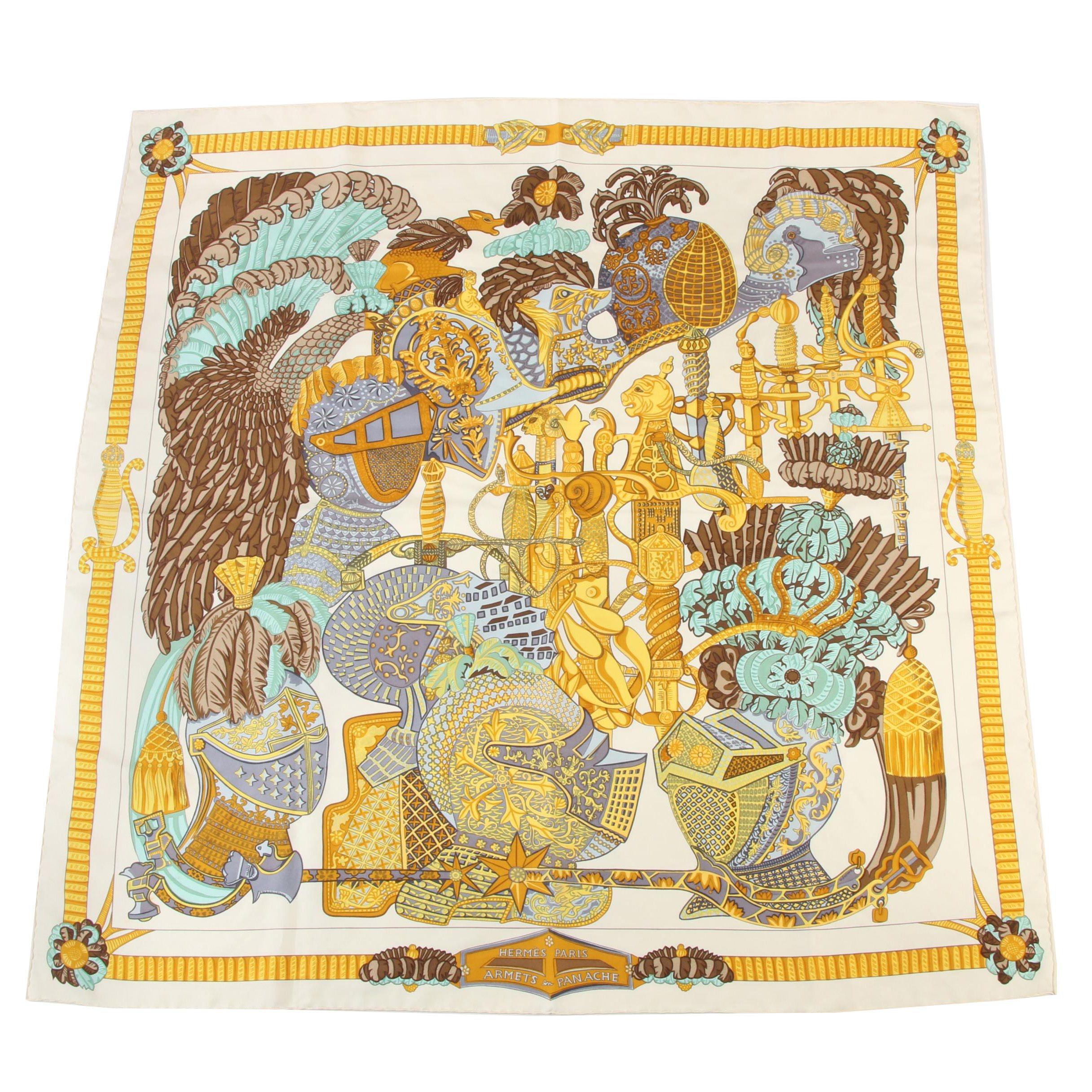 """Hermès Paris """"Armets en Panache"""" Silk Scarf Designed By Annie Faivre"""