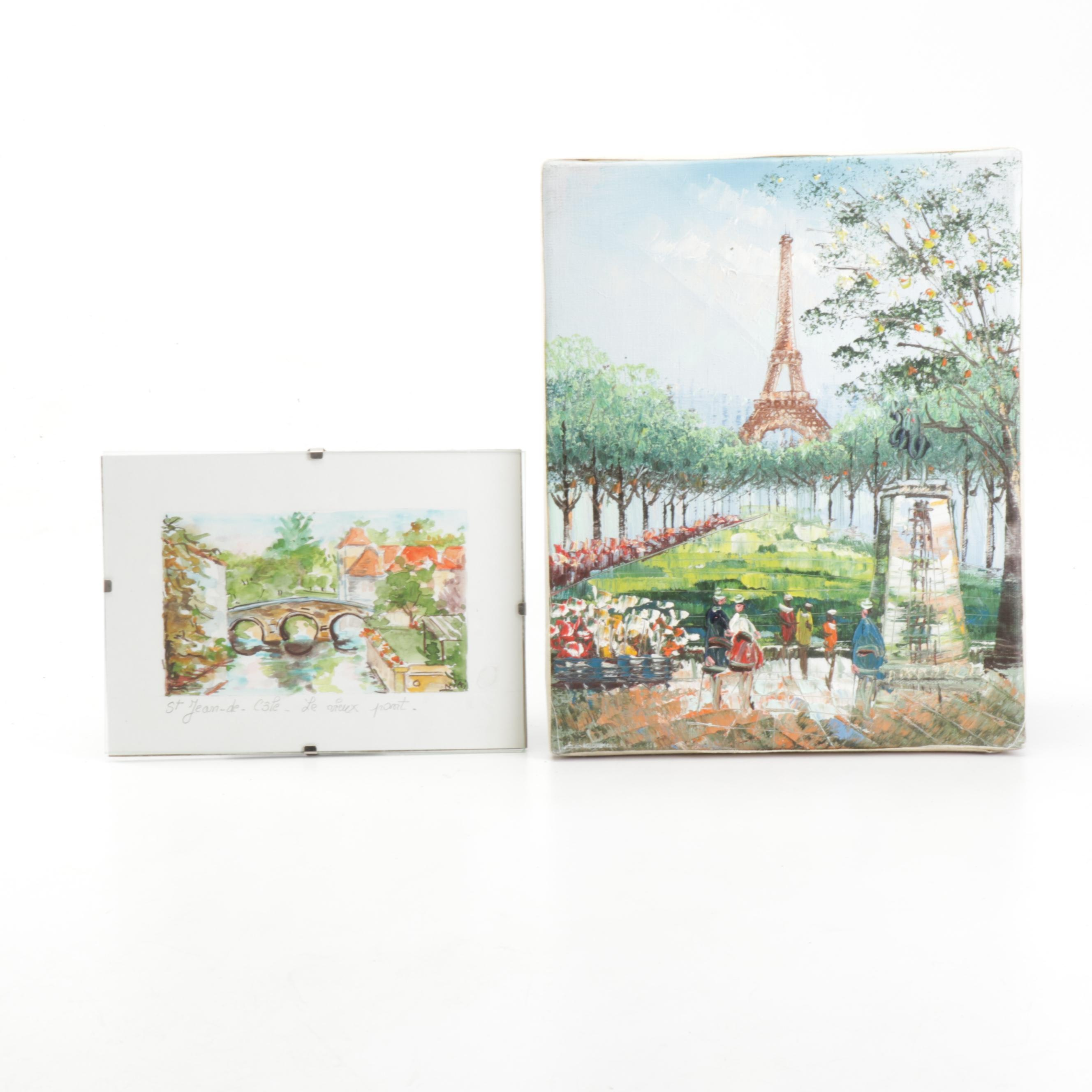 "Watercolor and Oil Paintings Featuring ""St. Jean-de-Côle-Le Vieux Pont"""