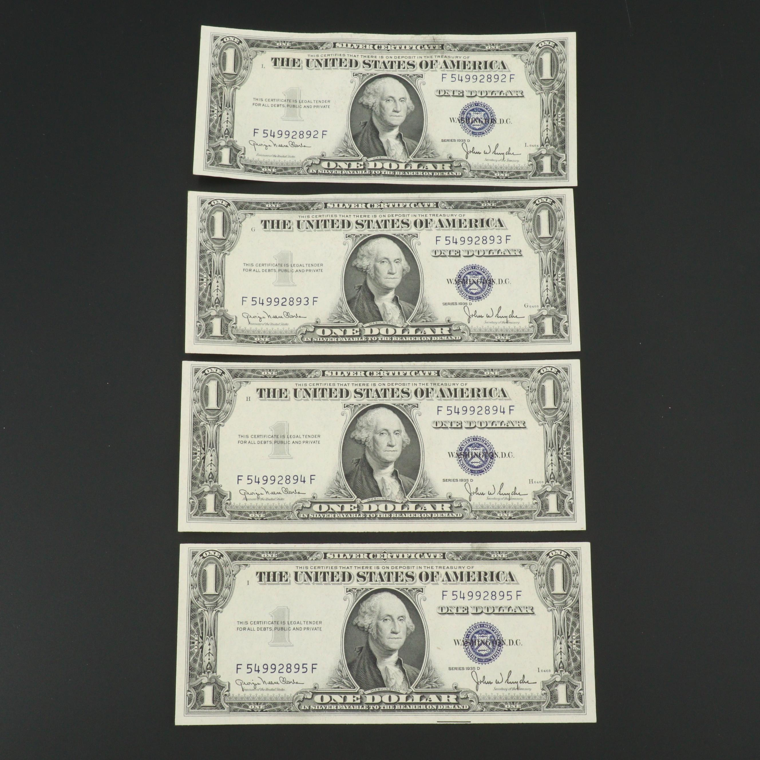 Four Consecutive Series 1935-D $1 Silver Certificate Notes