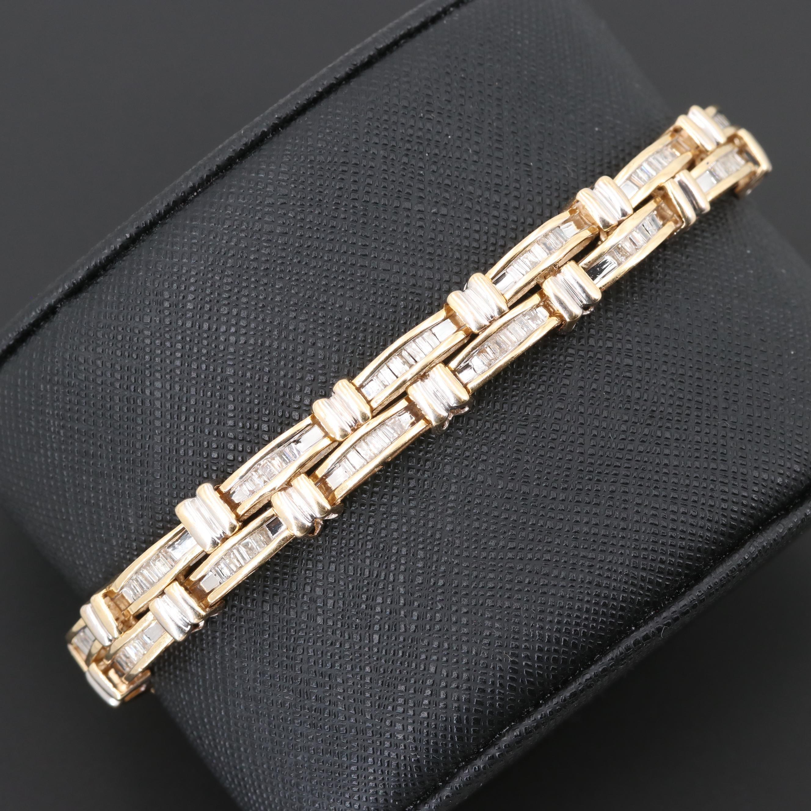 14K Yellow Gold 2.52 CTW Diamond Double Row Bracelet