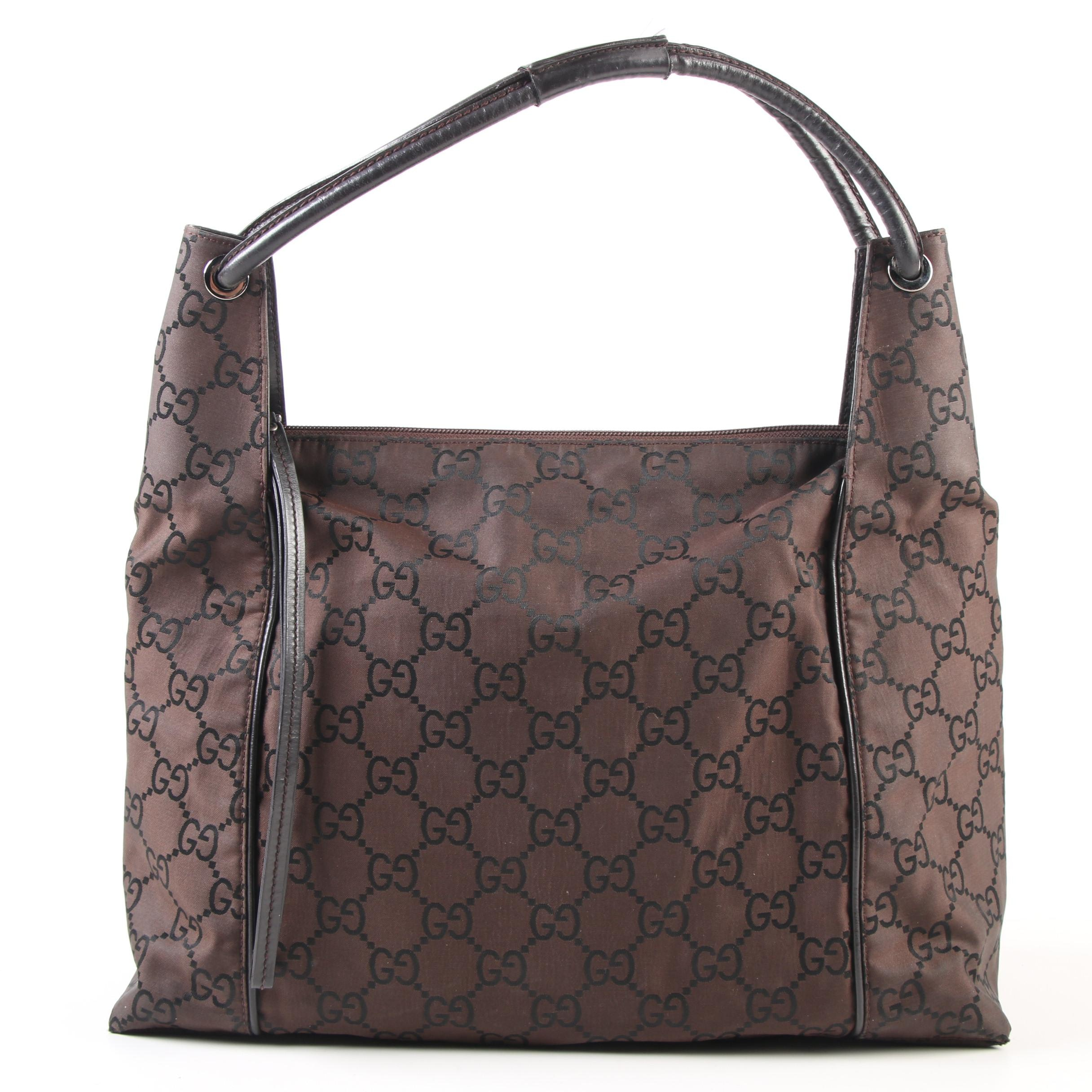 Gucci Brown GG Canvas and Leather Shoulder Bag Accented in Black