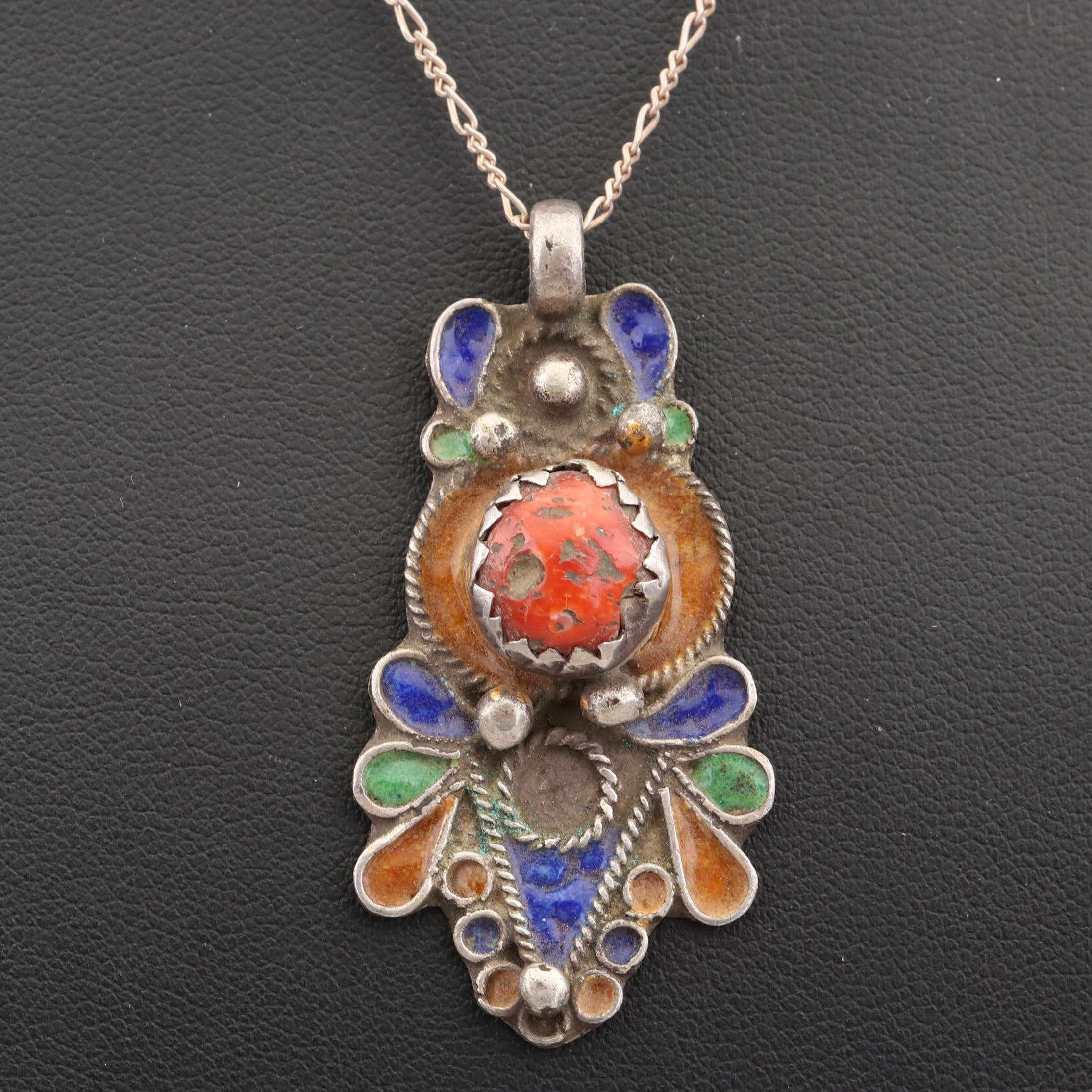 Sterling Silver Coral and Enameled Pendant Necklace