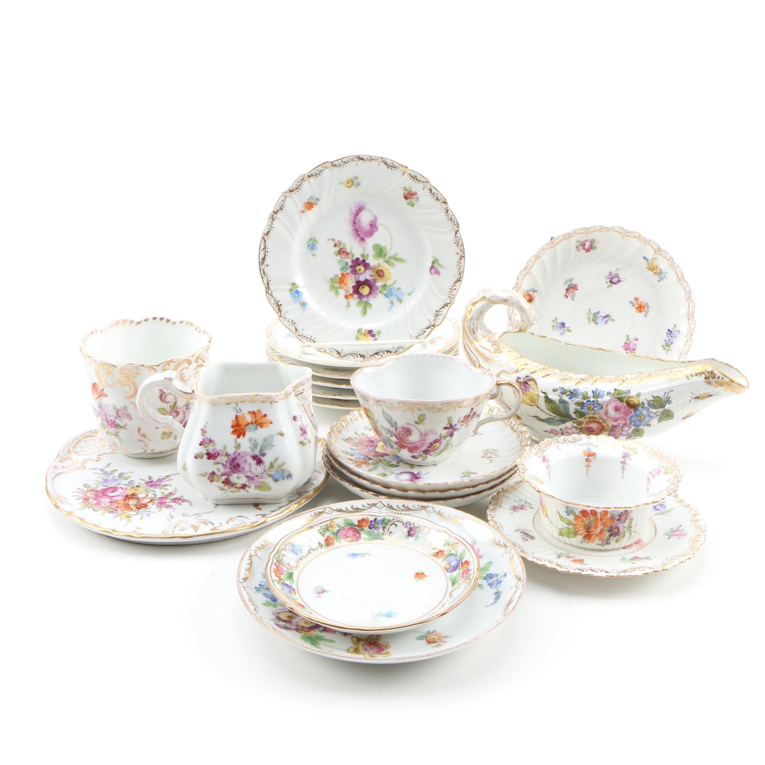"""Richard Klemm Dresden """"Deutsche Blumen"""" Decorated Porcelain"""