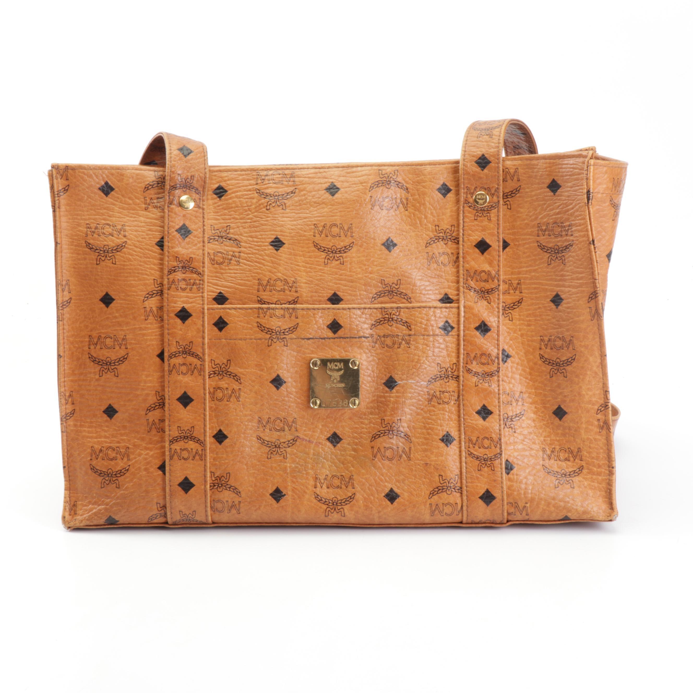 MCM Munchen Monogram and Diamond Cognac Visetos Tote Bag, Vintage