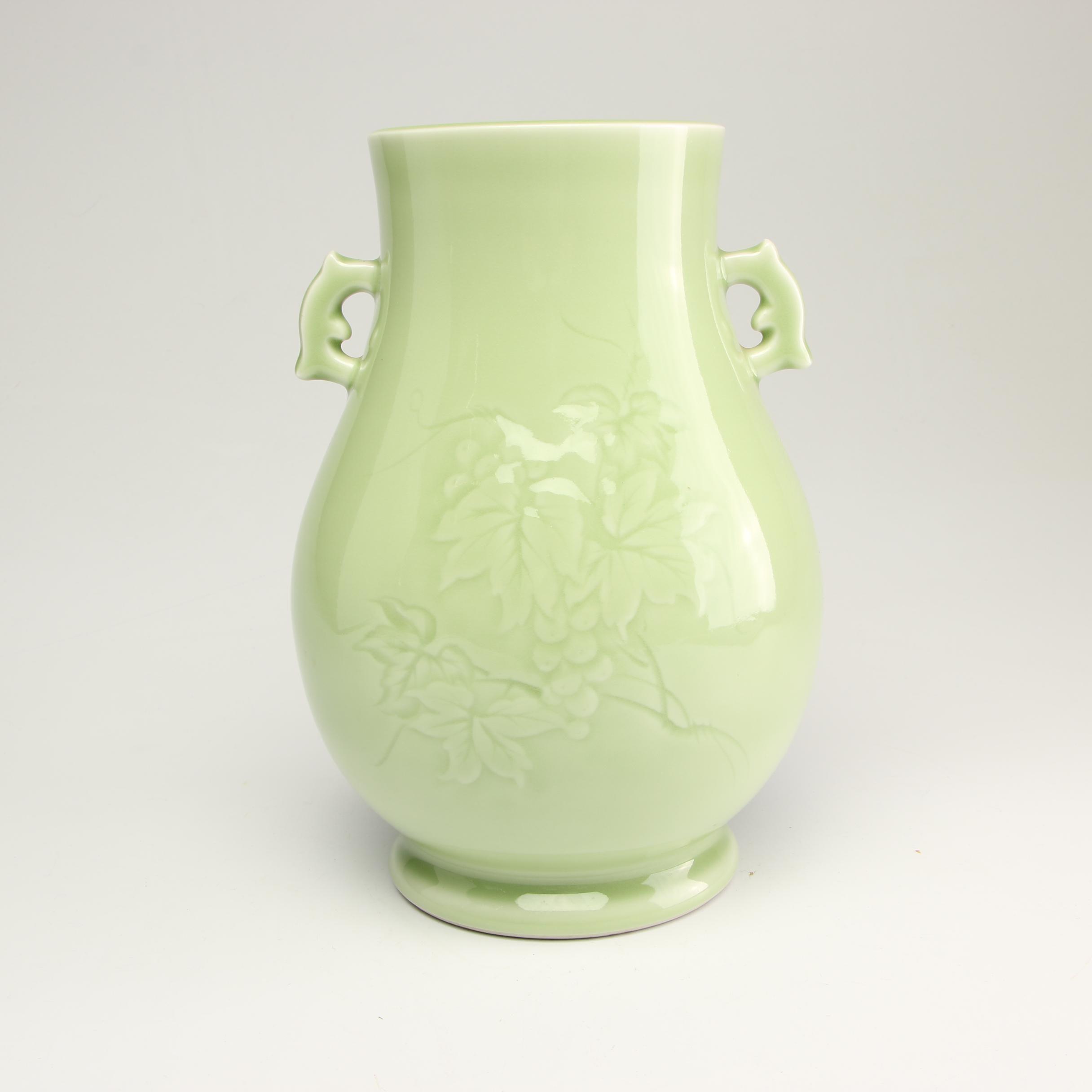 Chinese Porcelain Celadon Style Urn Vase