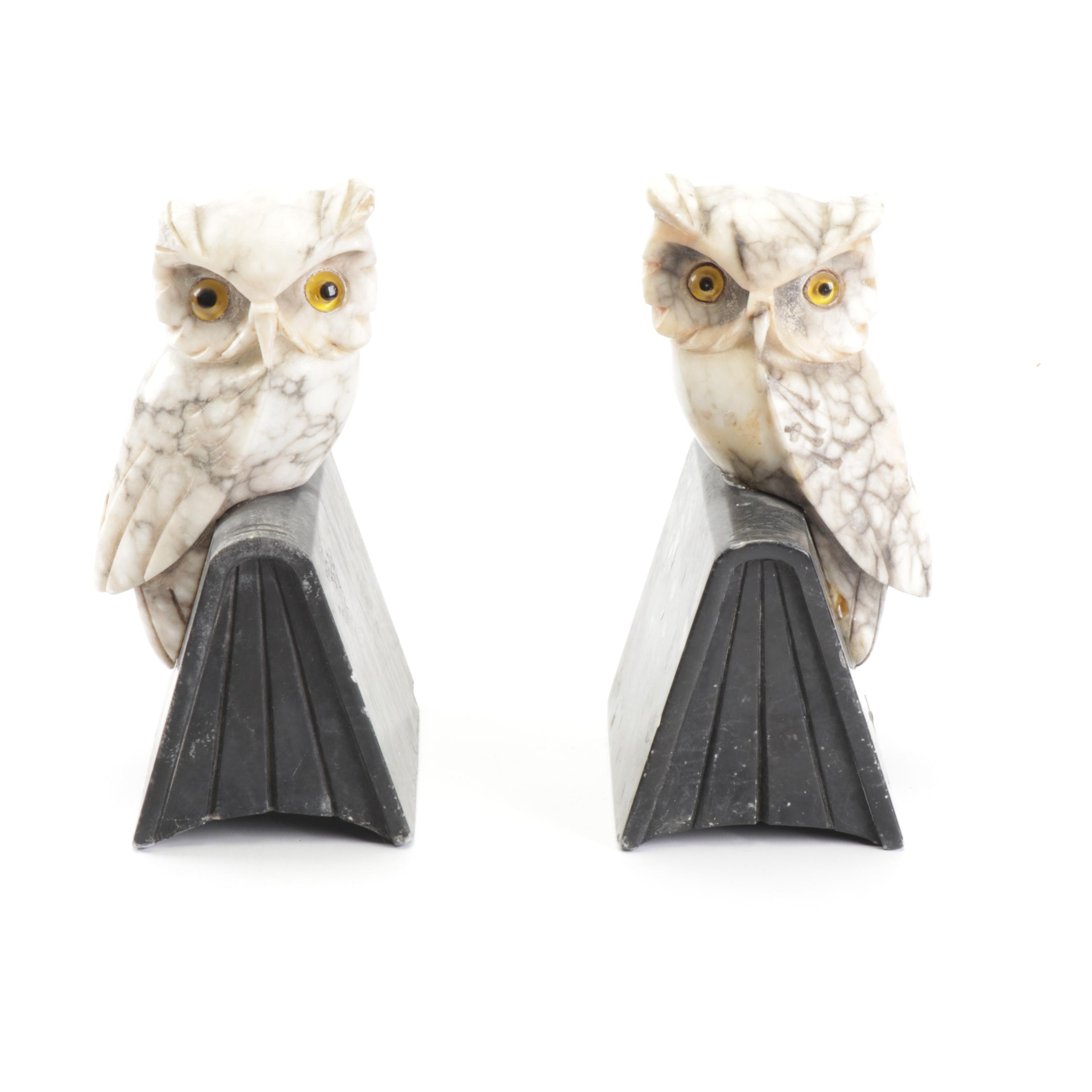 Italian Carved Marble Owl Book Ends, Circa 1970