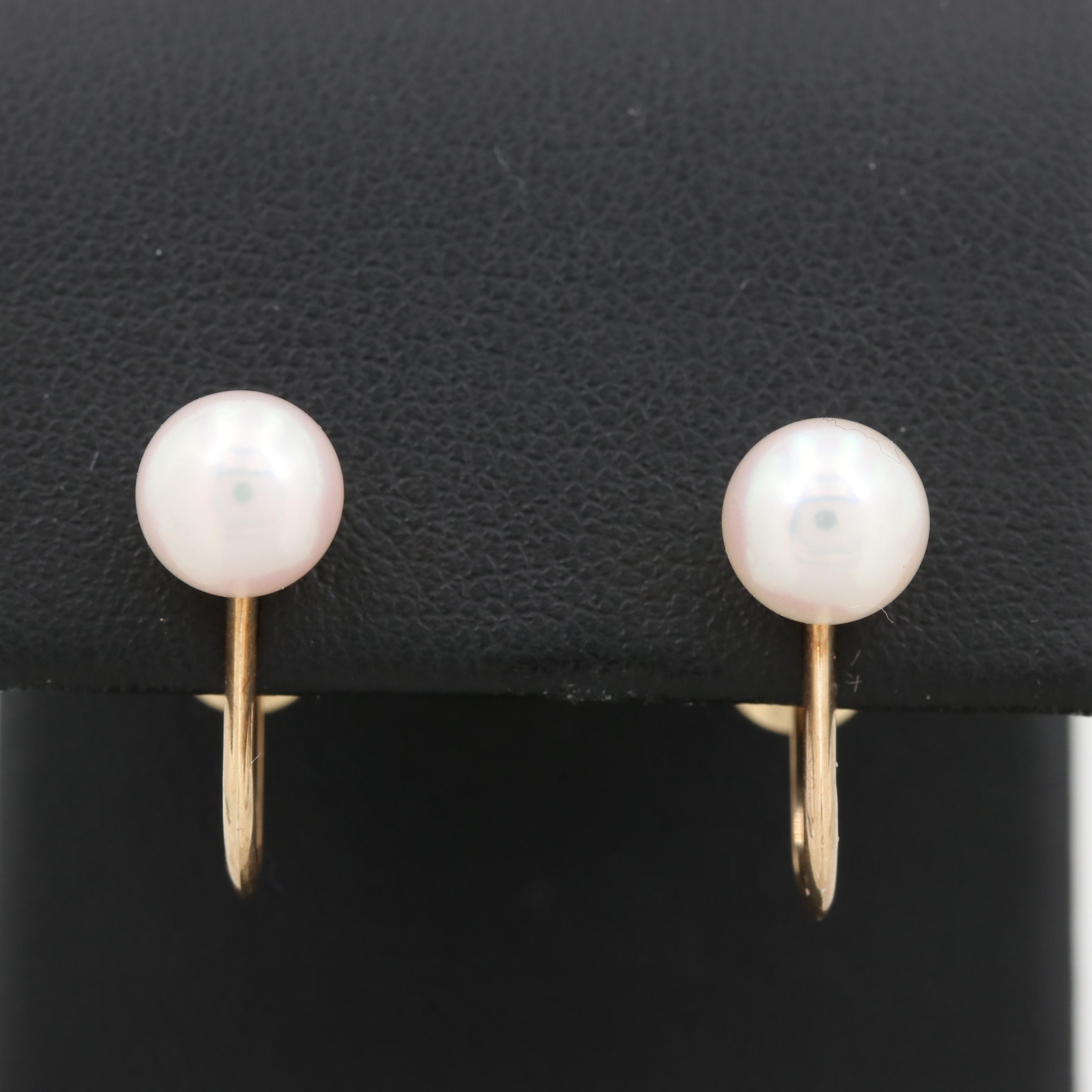 Vintage Mikimoto 14K Yellow Gold Cultured Pearl Earrings
