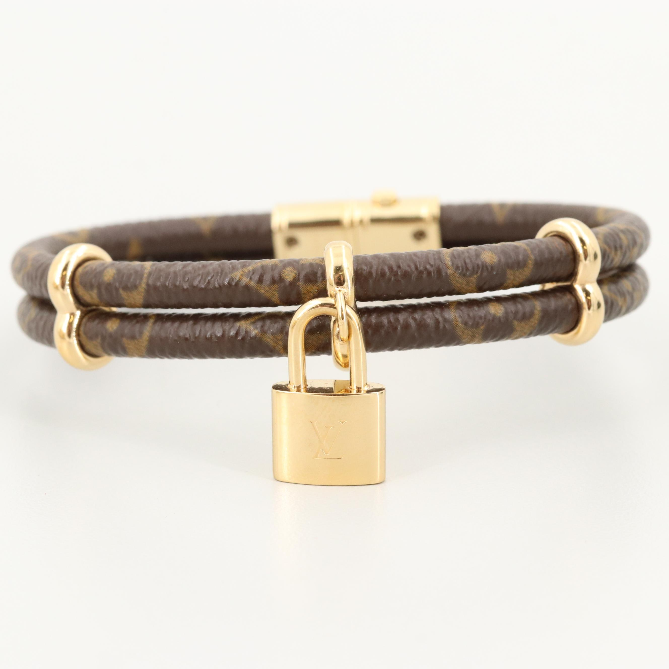 """Louis Vuitton """"Keep it Twice"""" Canvas Monogram Bracelet with Pouch and Box"""
