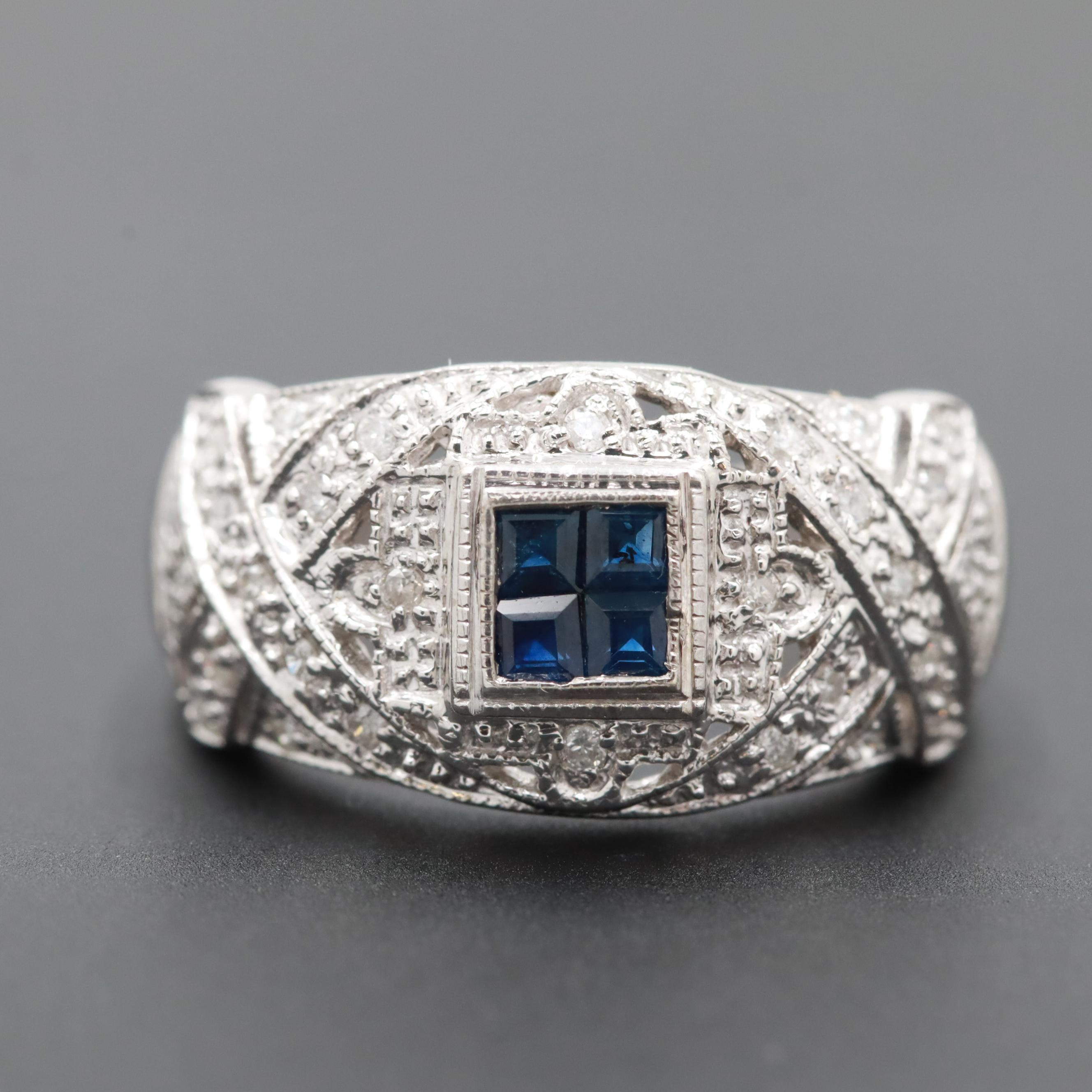 14K White Gold Sapphire and Diamond