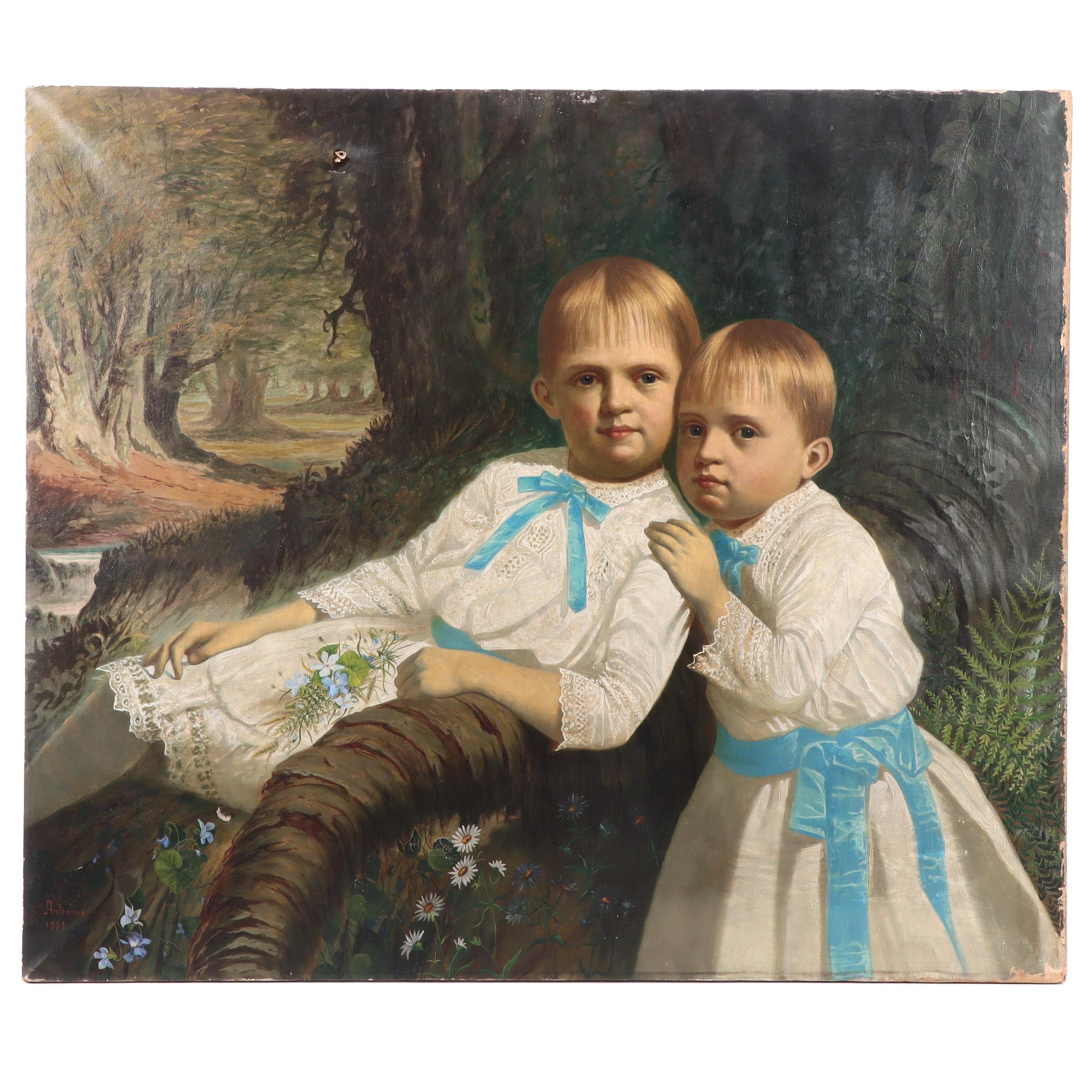 John Antrobus 1885 Children's Double Portrait Oil Painting