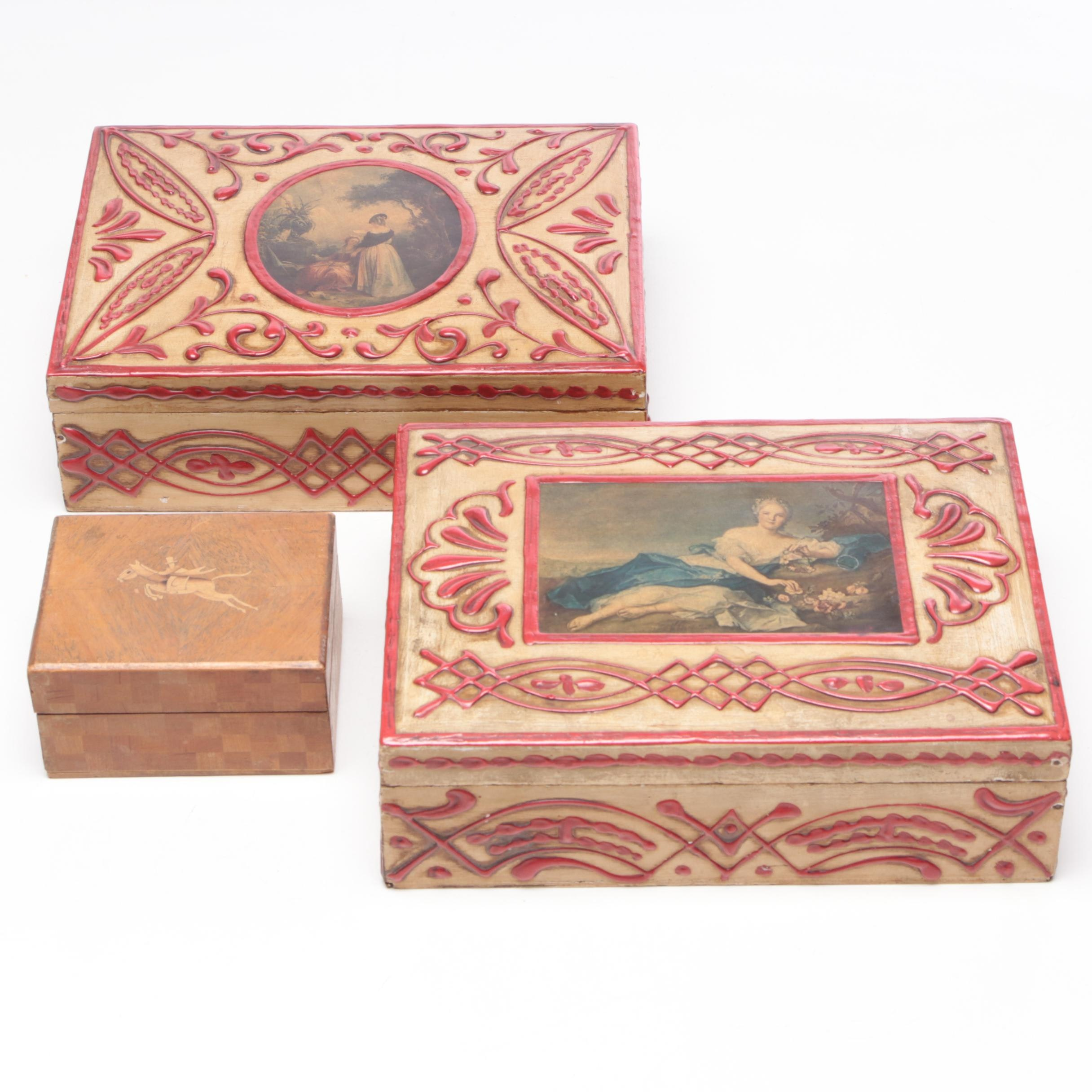 Decorated and Etched Wooden Cigar and Trinket Boxes, 20th Century