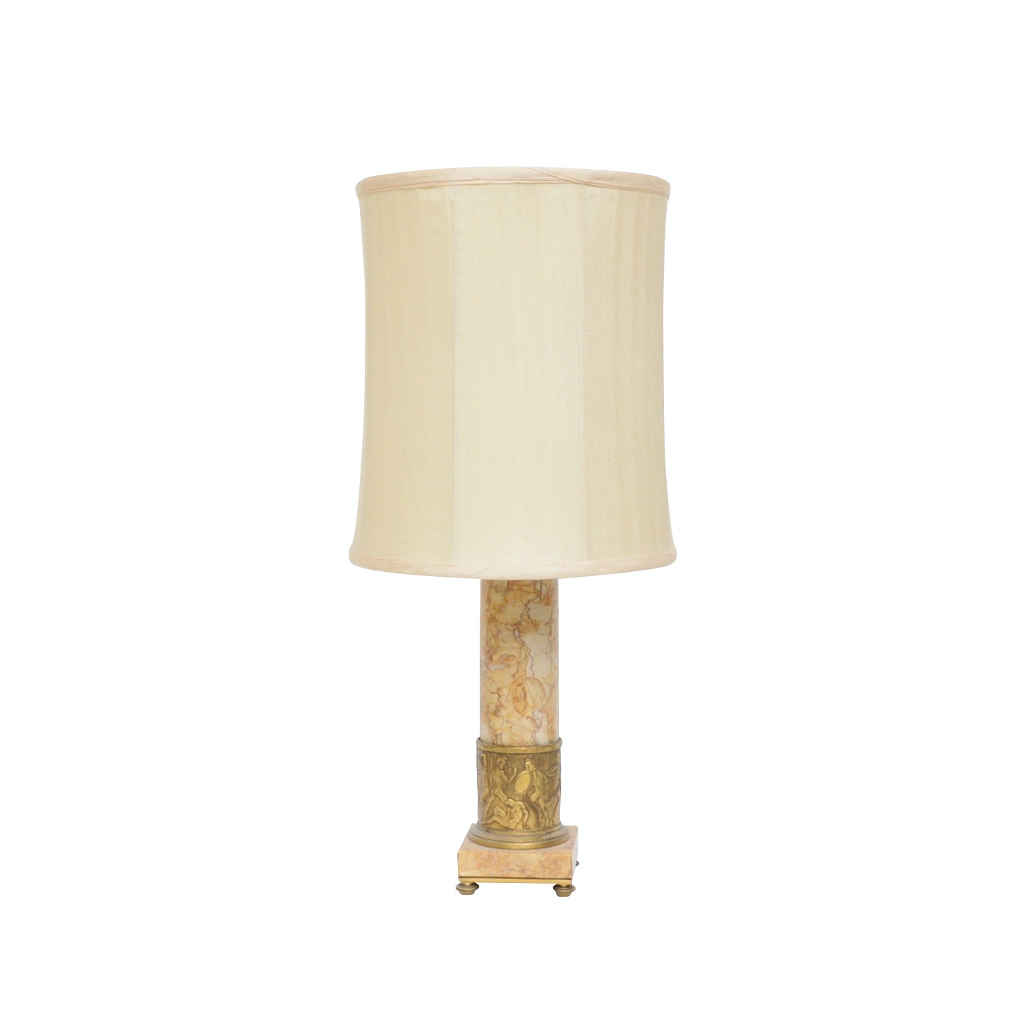 NEoclassical Style Brass and Marble Table Lamp with Edward Alden Shade