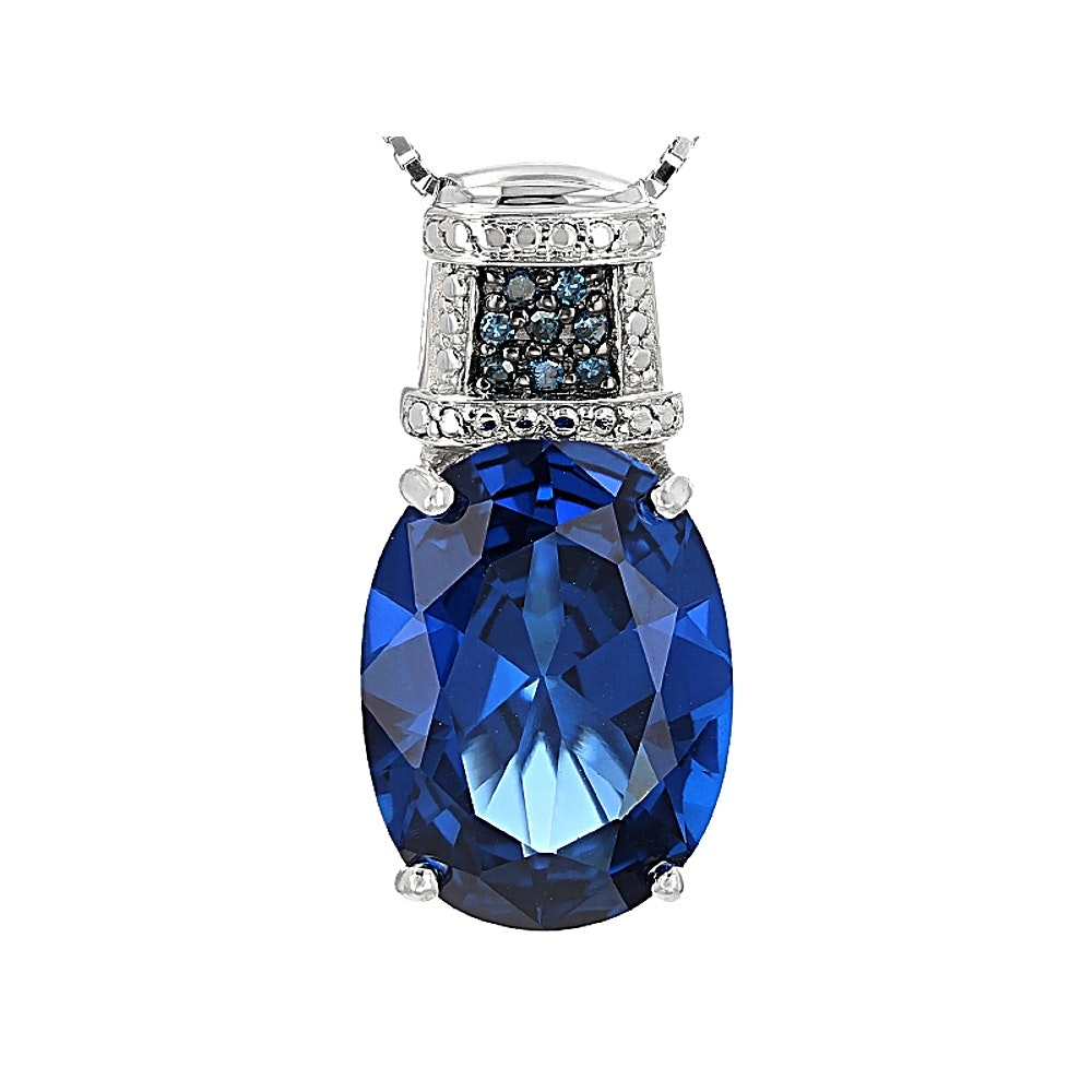 Sterling Silver Synthetic Spinel and Blue Diamond Pendant Necklace