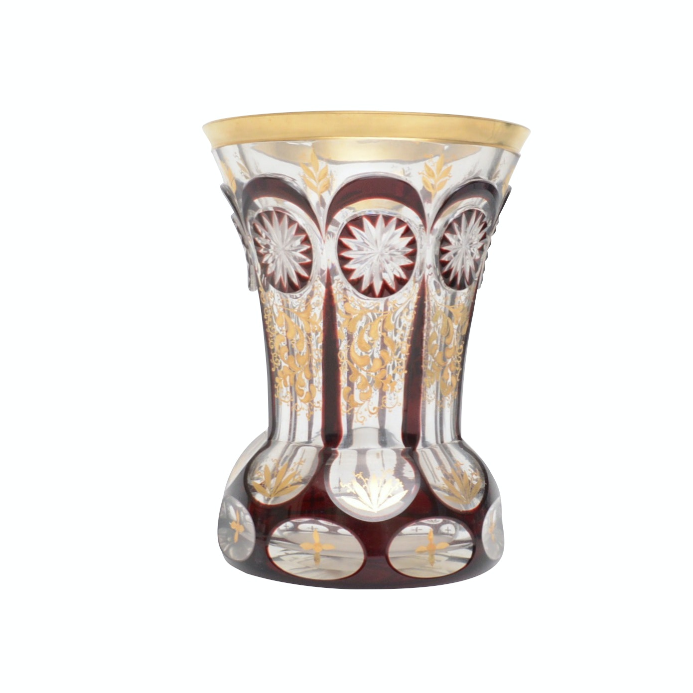 Bohemian Clear and Ruby Flashed Cut Crystal Vase with Gold Lustre