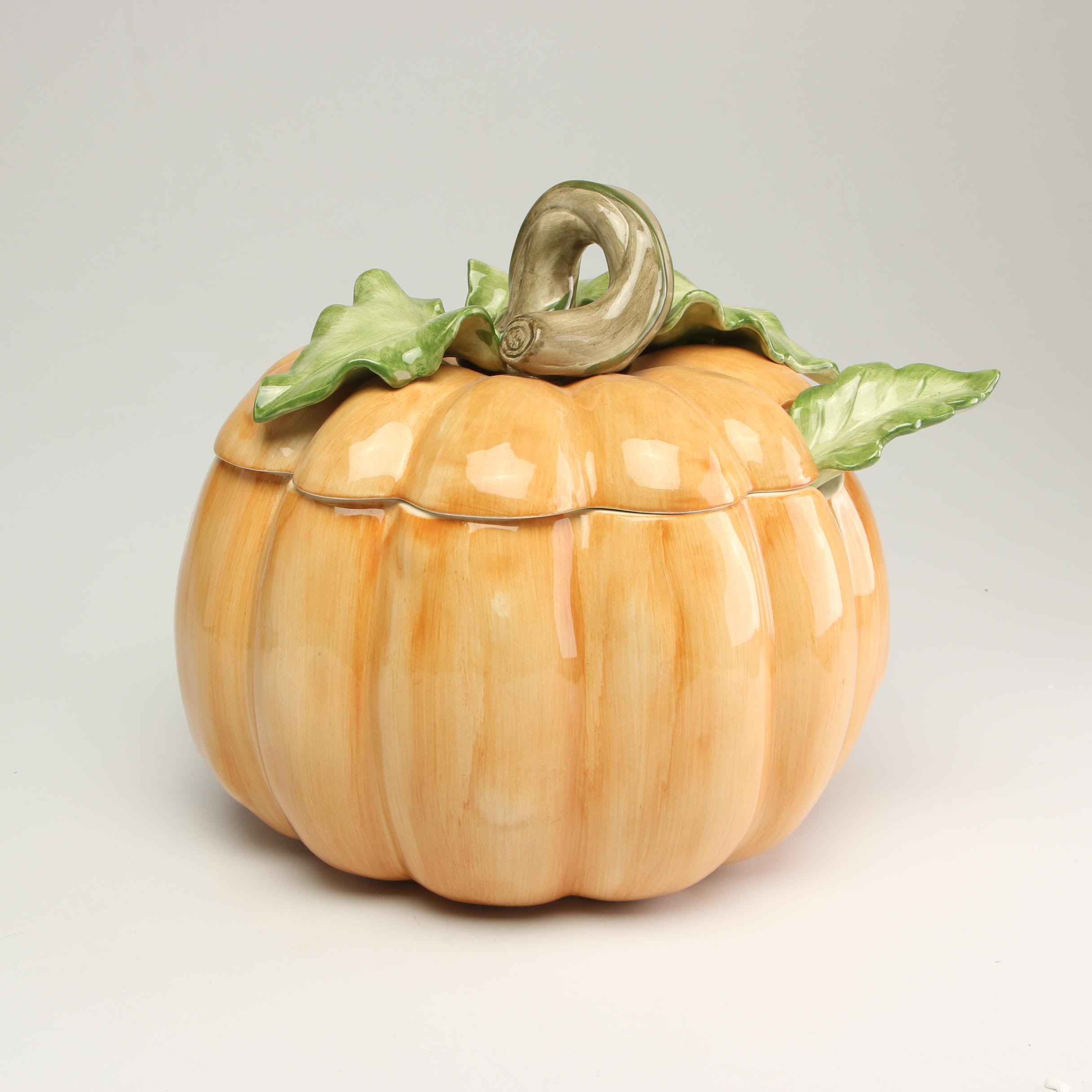 """Fitz and Floyd """"Vegetable Garden"""" Pumpkin Soup Tureen with Lid and Ladle"""