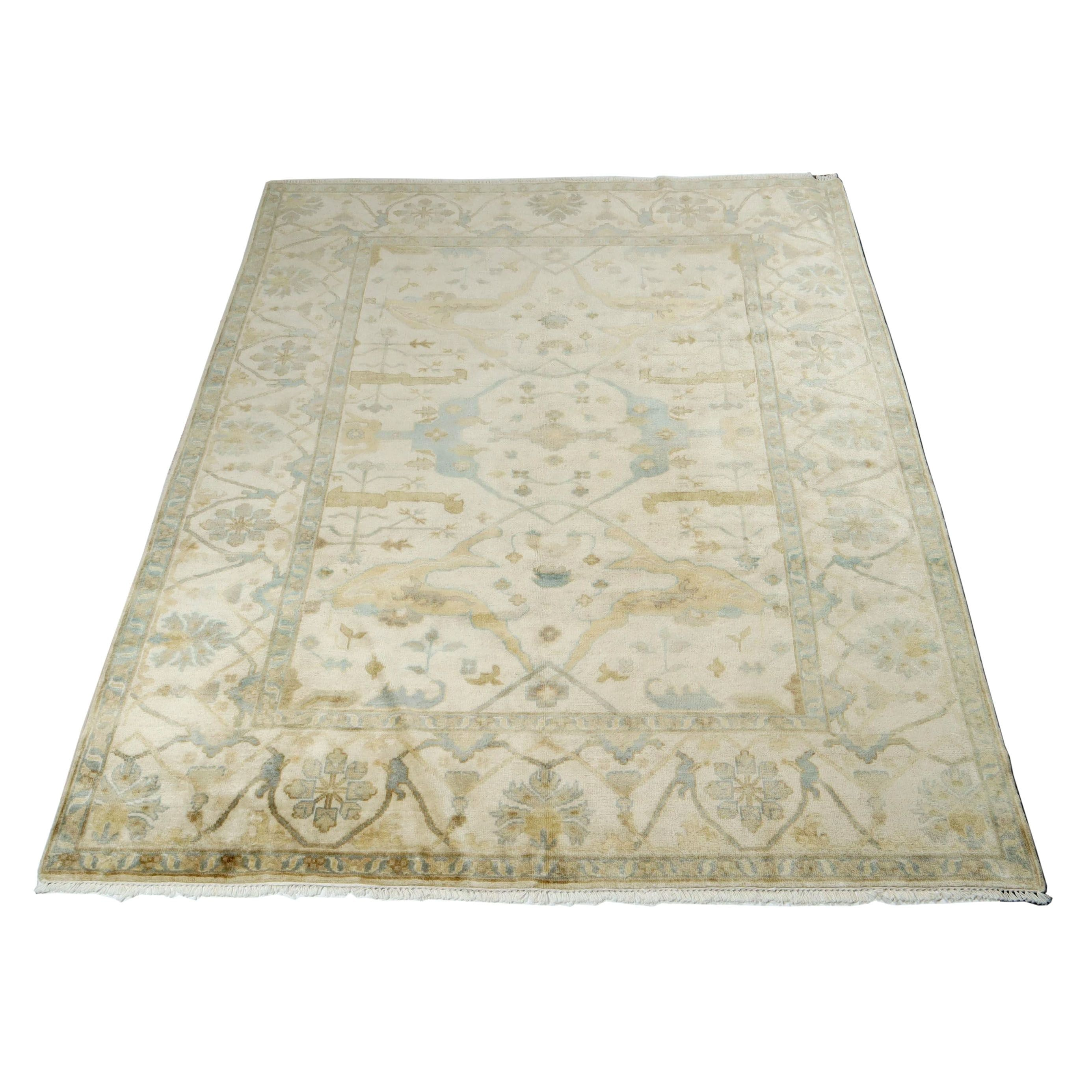 8' x 10' Hand-Knotted Indo Turkish-Oushak Rug