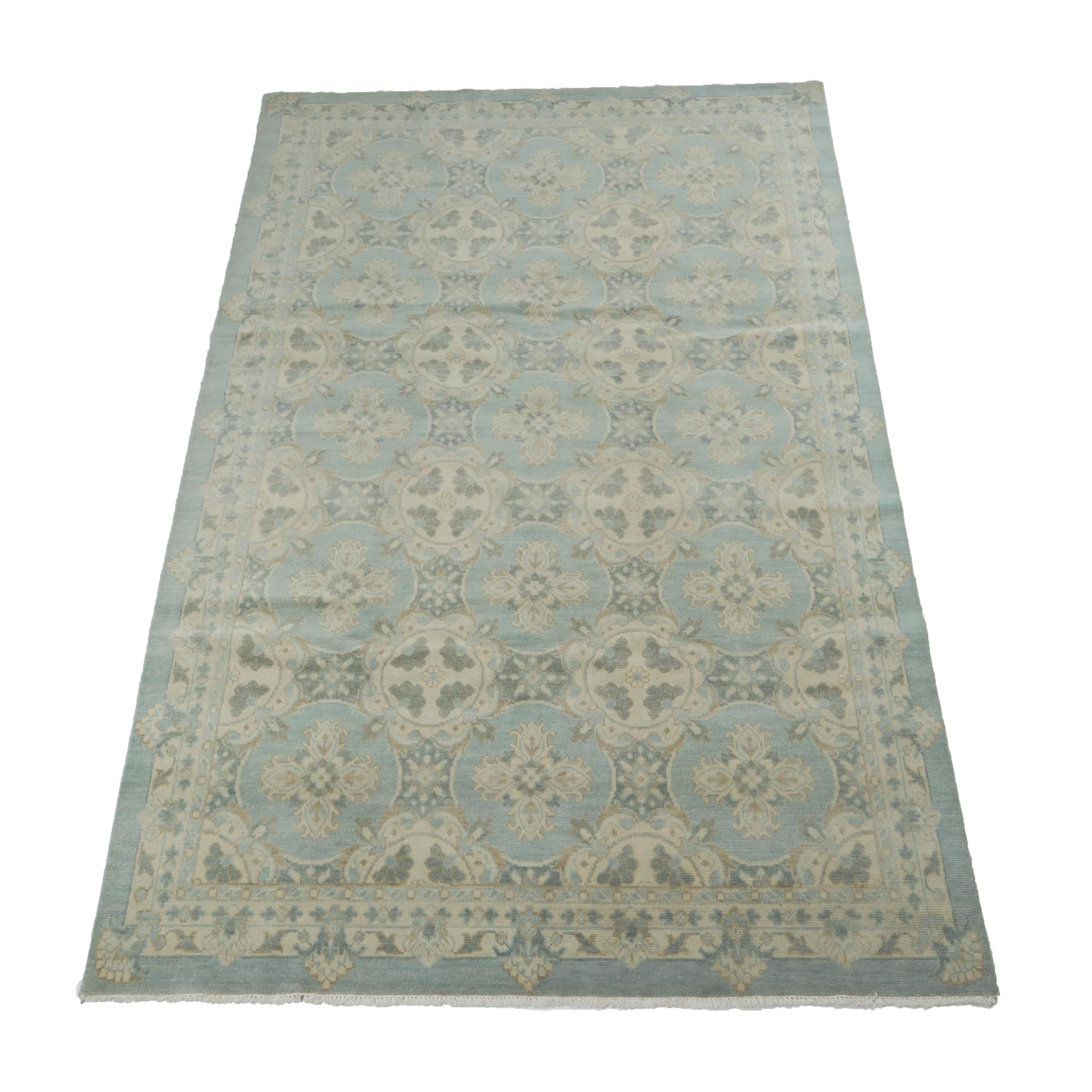 5.11' x 9.4' Hand-Knotted Indo-Turkish Oushak Wool Rug