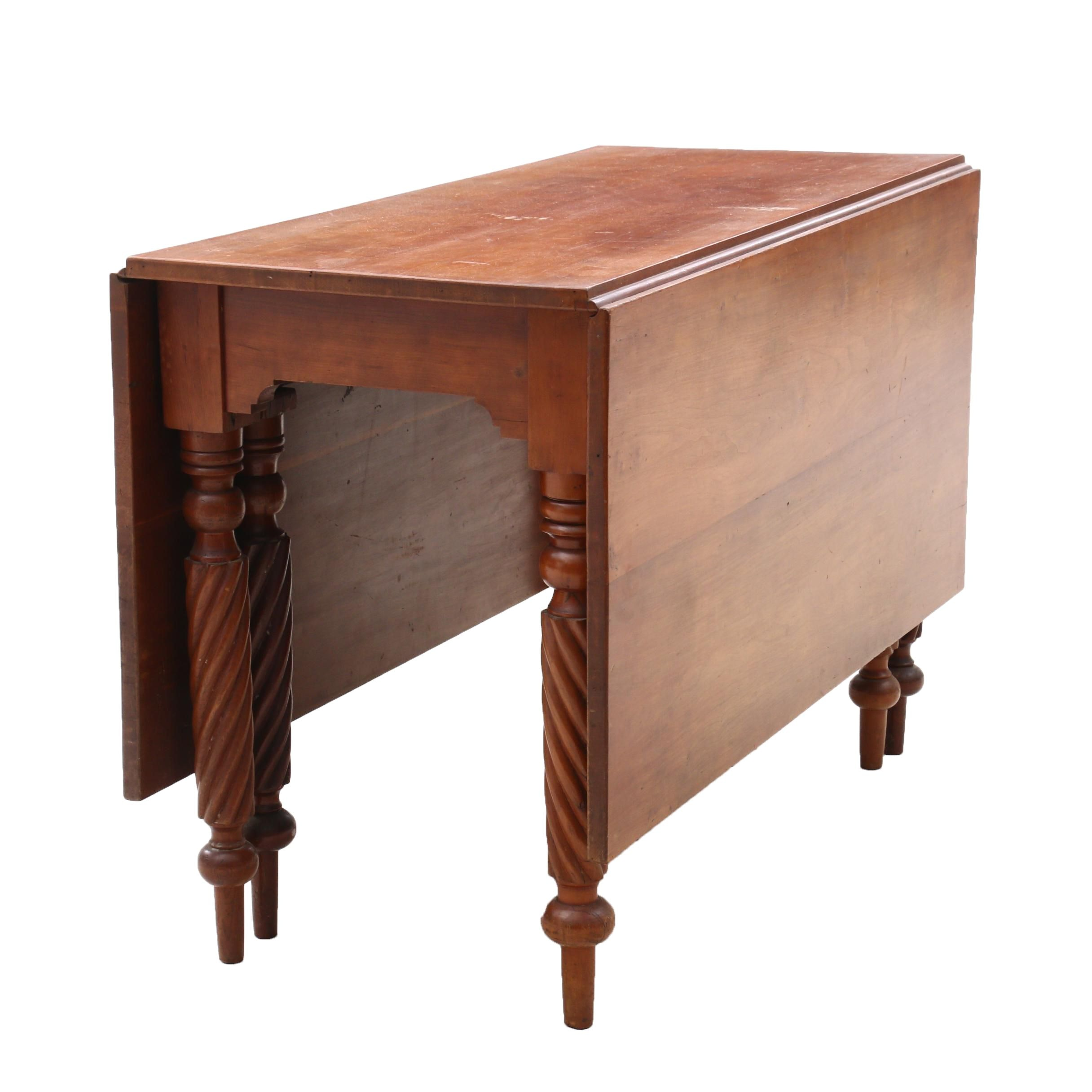 Rope-Leg Cherry Drop-Leaf Dining Table