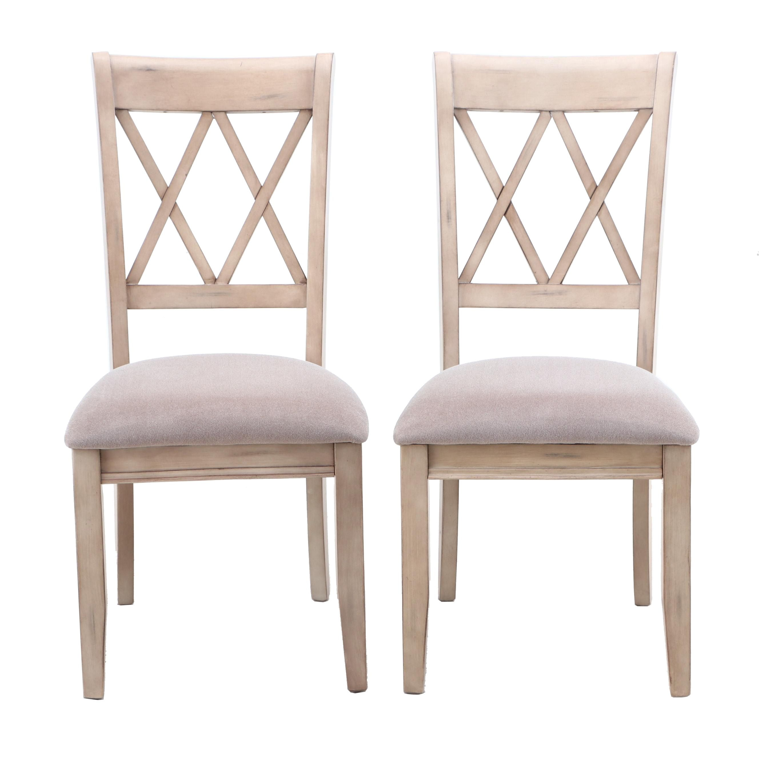 """Neo-Classical Style Ashley """"Mestler"""" Bleach Tone Upholstered Side Chairs"""