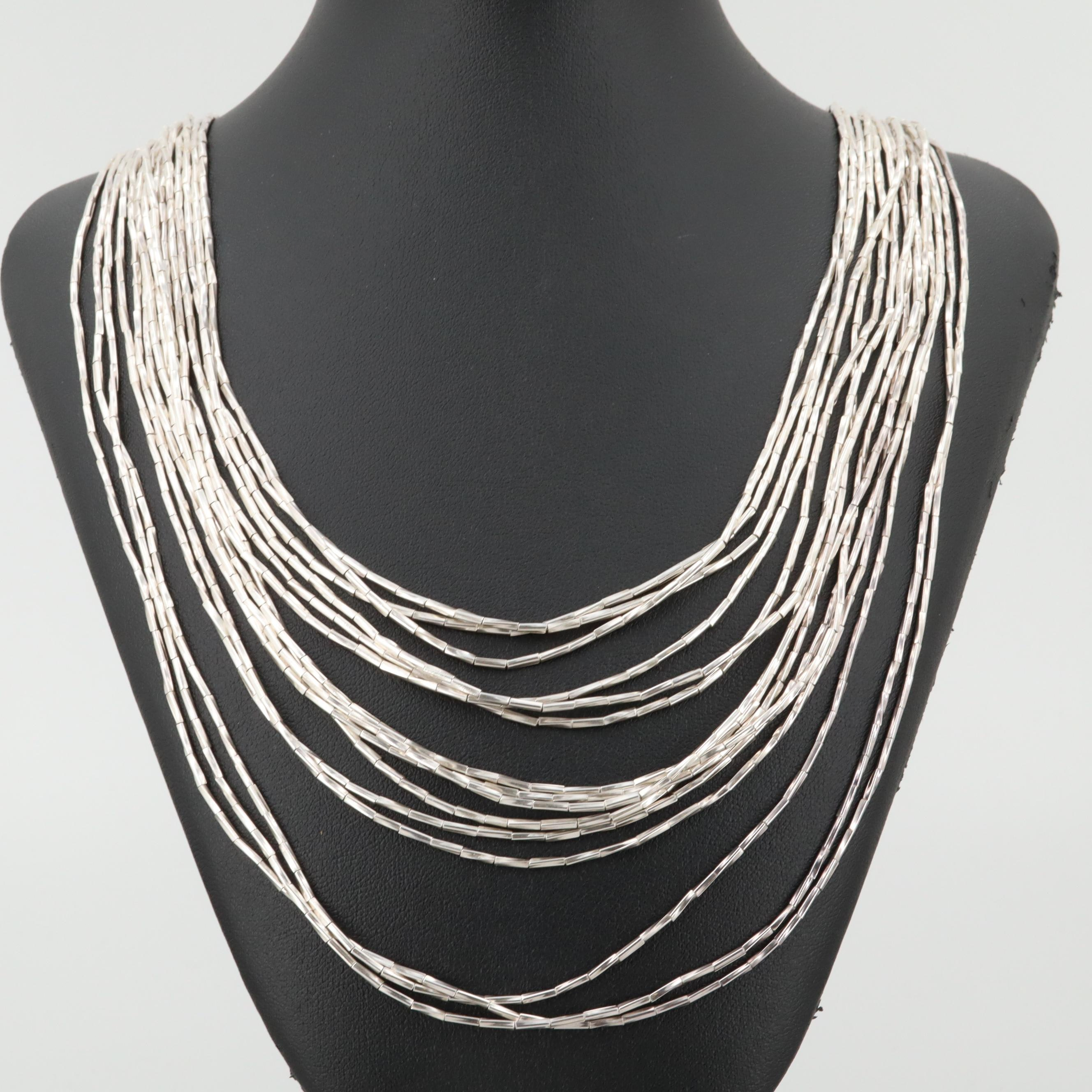 Southwestern Style Sterling Faceted Liquid Silver Fifteen Strand Necklace