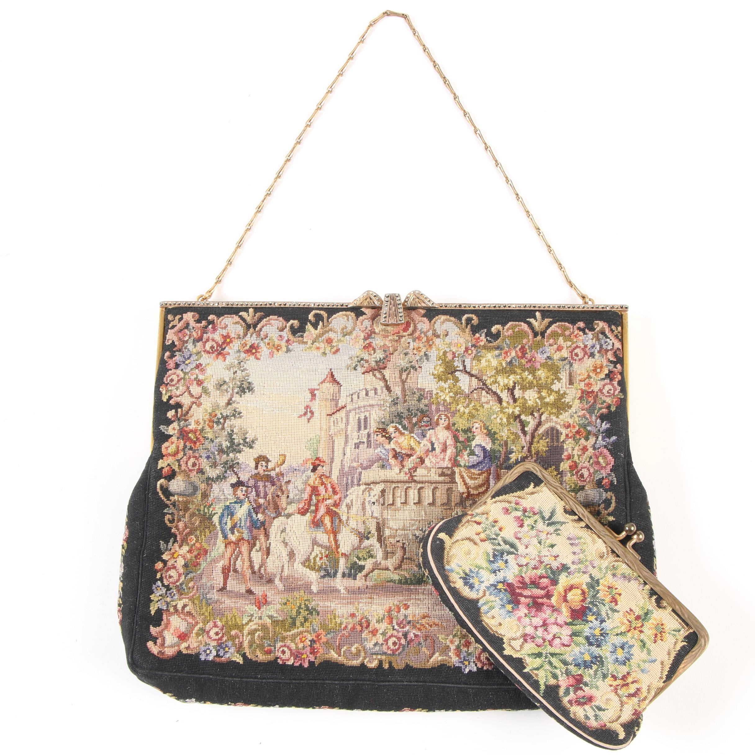 Petit Point Needlework Evening Bag with Austrian Made Coin Purse, Vintage