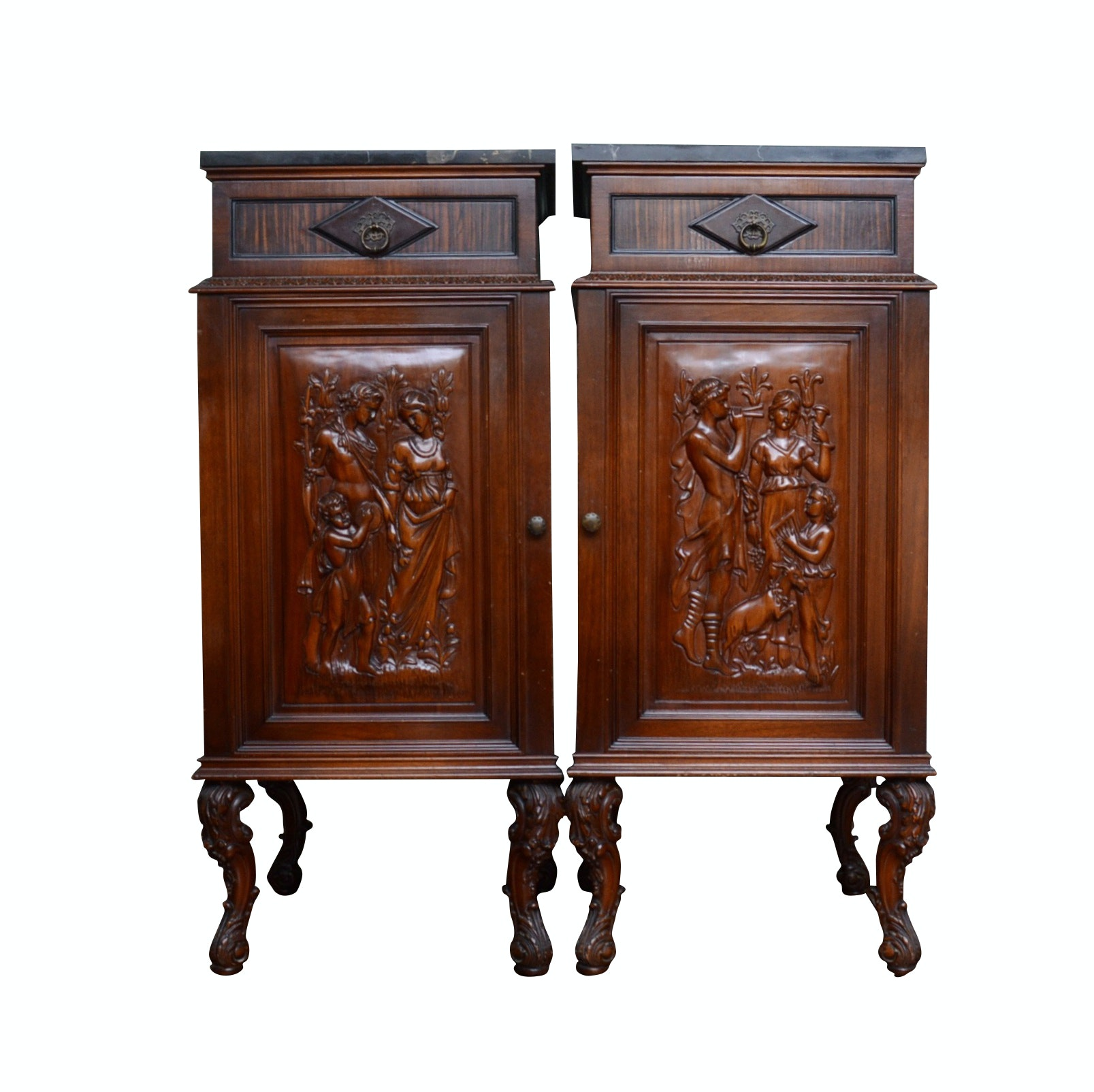 Pair of Renaissance Revival Carved Oak Cabinets with Marble Tops, Circa 1920