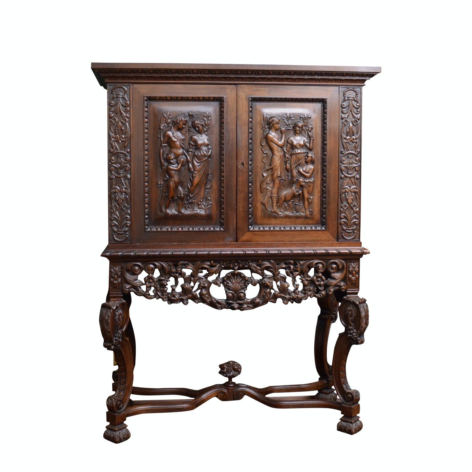 Renaissance Revival Carved Oak Cabinet on Stand, 1920s