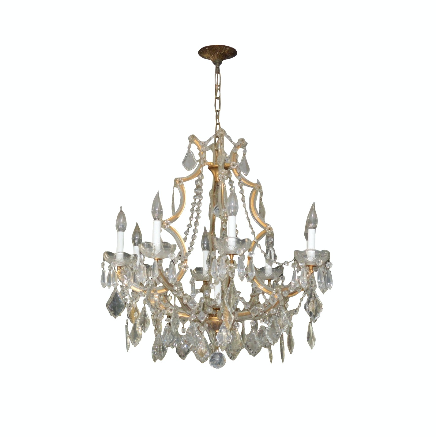 French Style Eight-Arm Crystal and Glass Chandelier