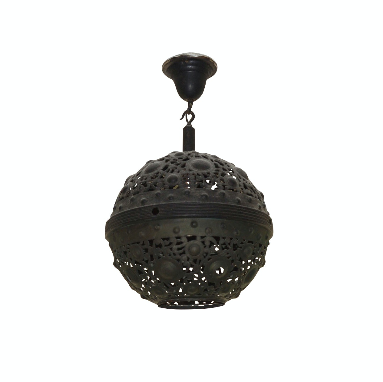Reticulated Round Metal Ceiling Light