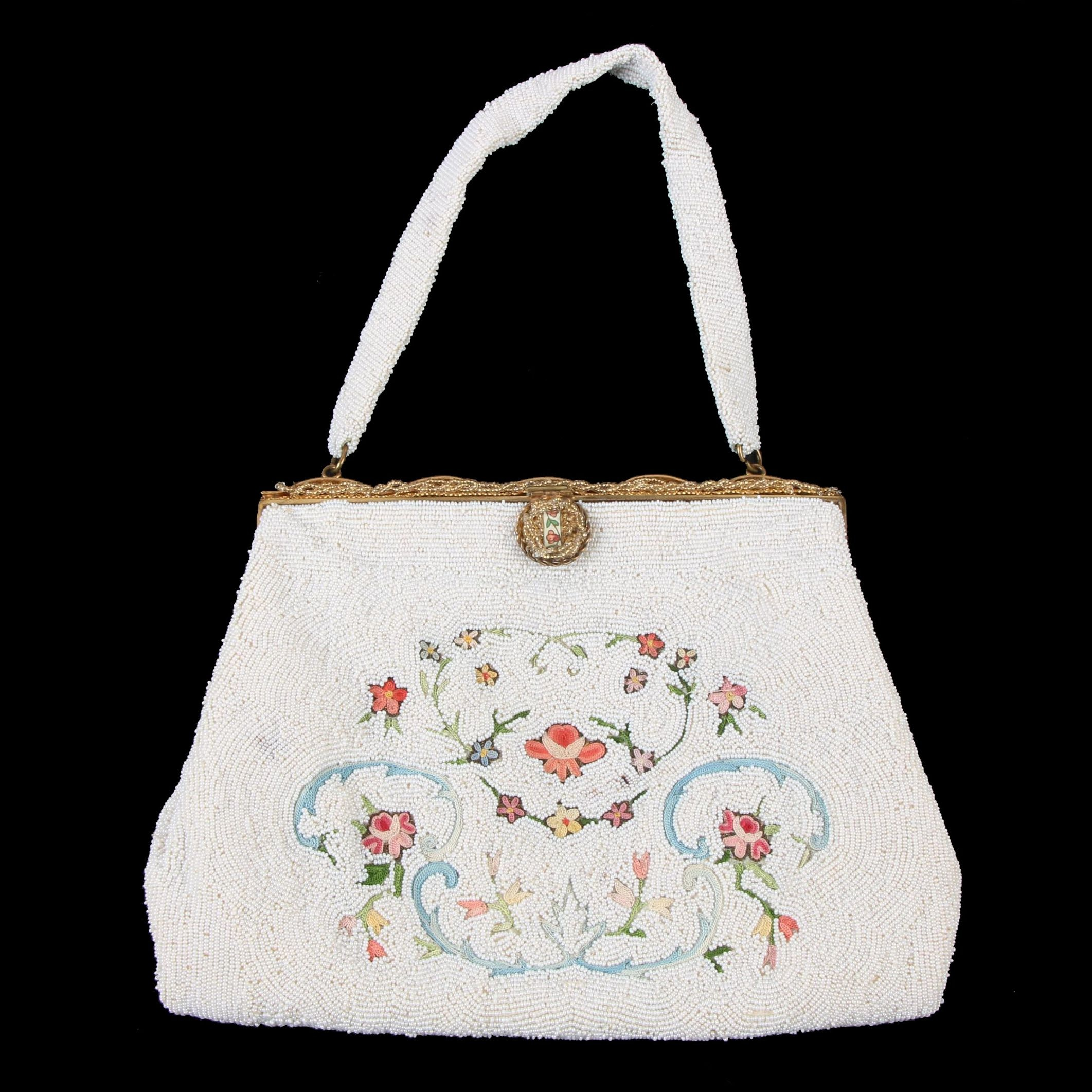 Odette Paris Microbead and Embroidered Evening Bag with Enamel Accent Frame