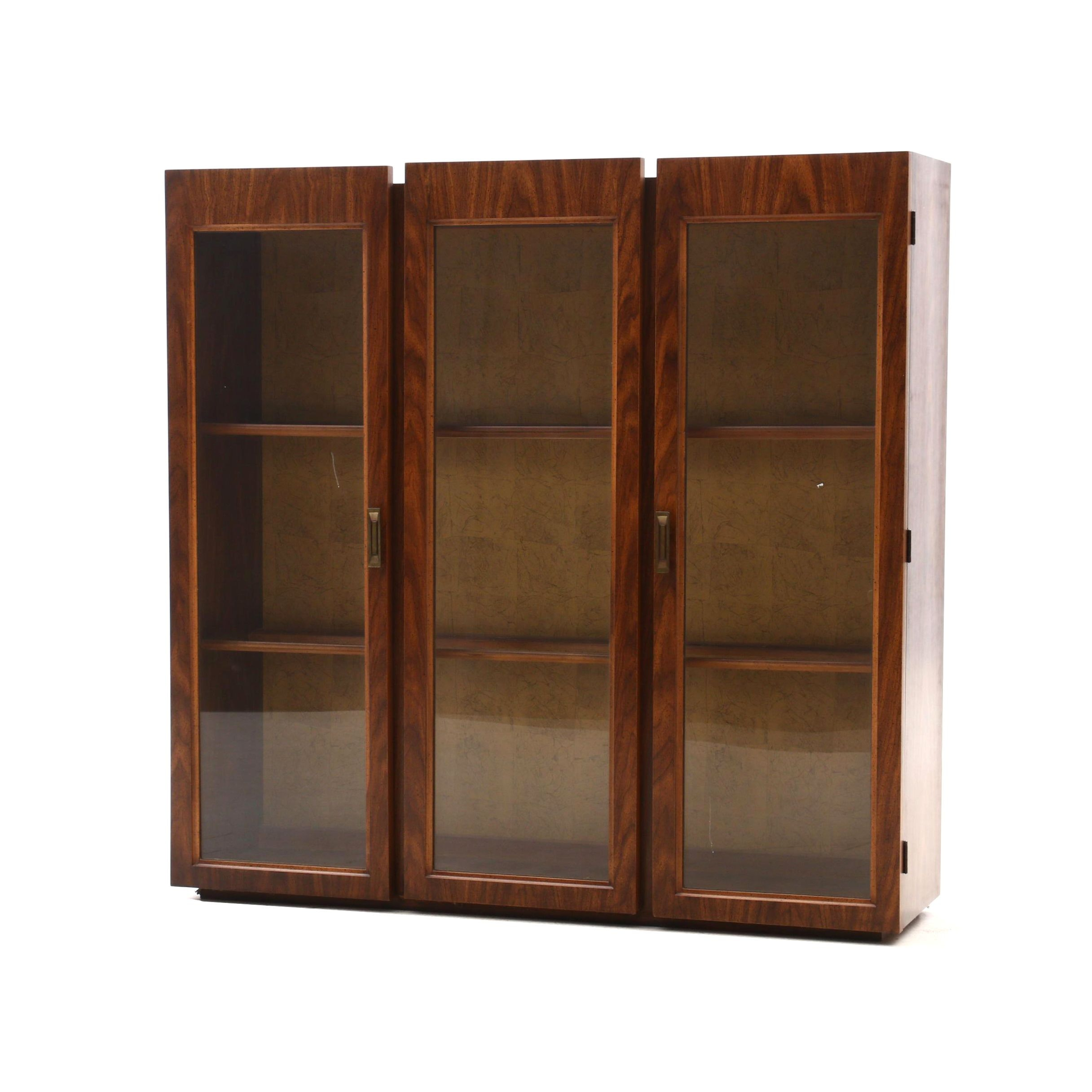 Mid Century Modern Walnut Veneer Illuminated China Cabinet Top Portion