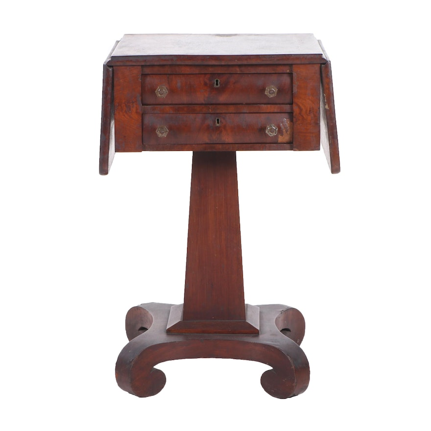 American Empire Mahogany Drop-Leaf Work Table, Early 19th Century