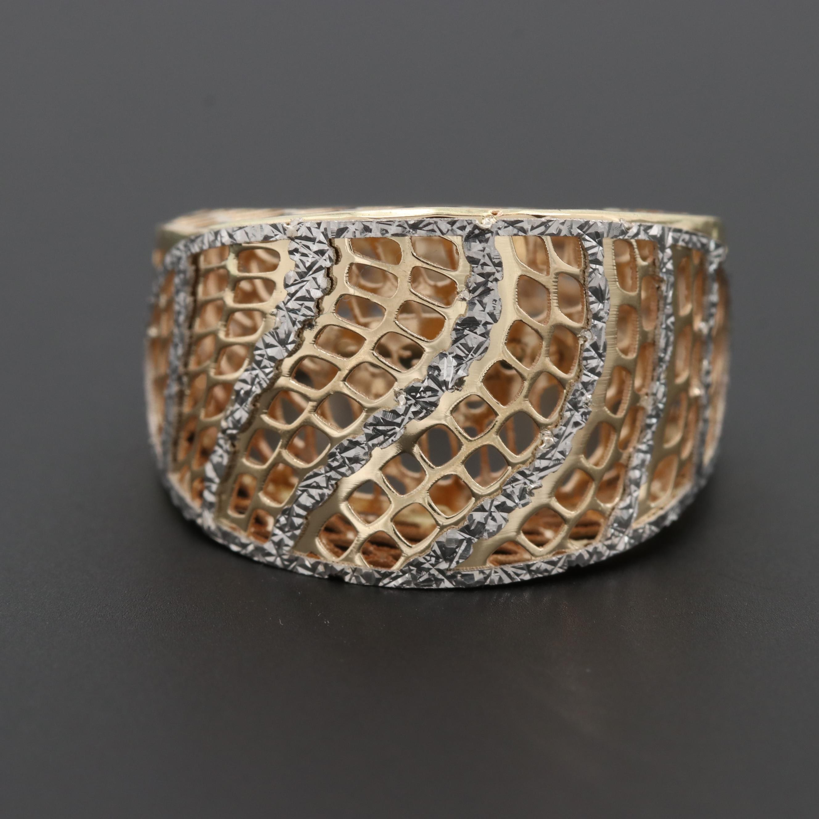 14K Yellow Gold Openwork Ring with Diamond Cut White Gold Accents