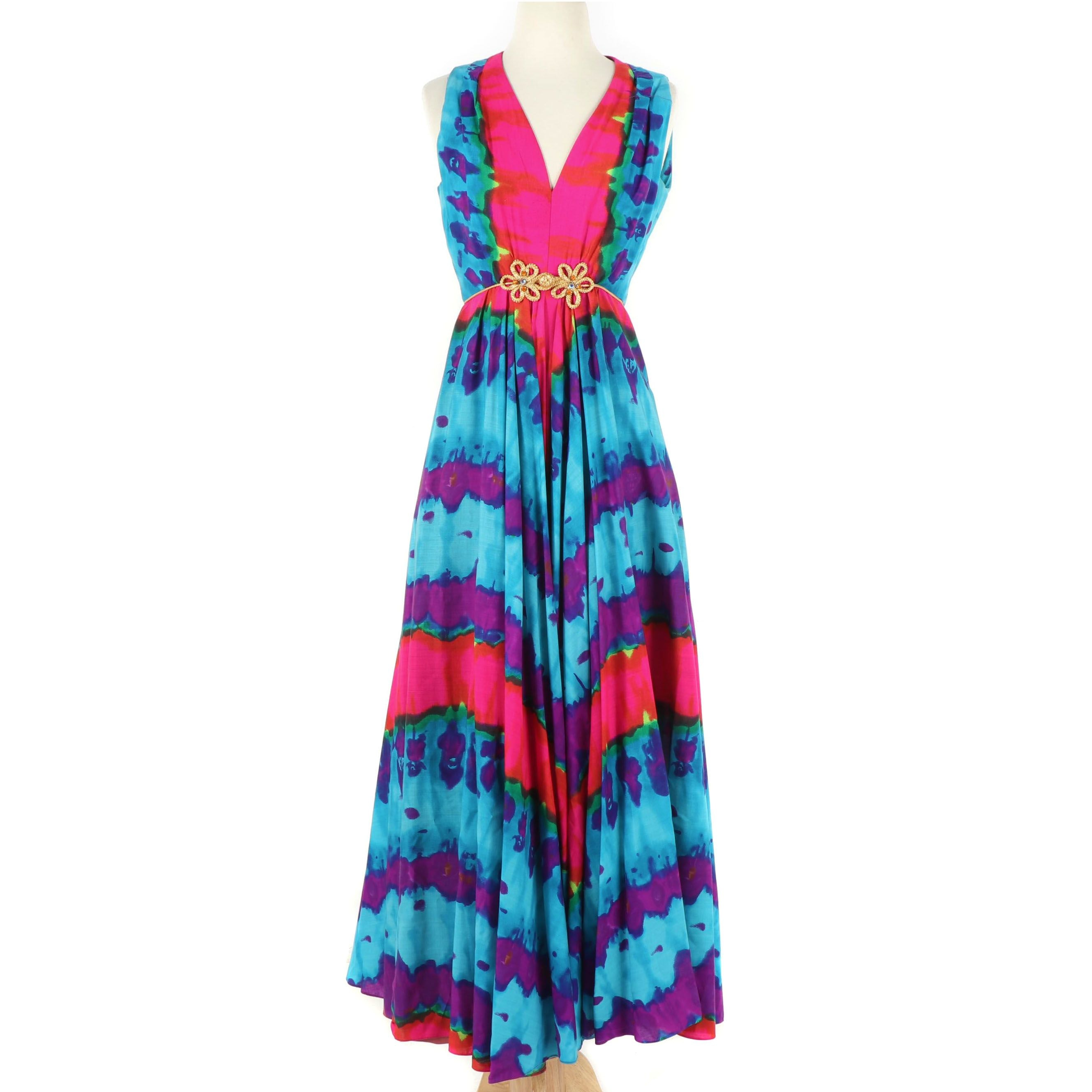Sleeveless Multicolor Sleeveless Maxi Dress with V-Cut Neckline, 1970s Vintage