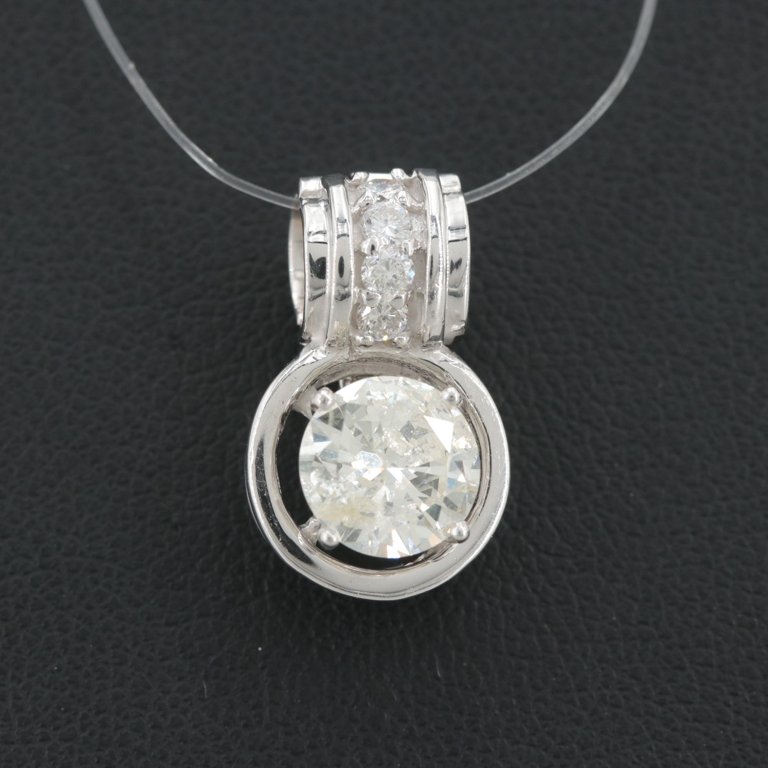 14K White Gold 1.46 CTW Diamond Enhancer Pendant