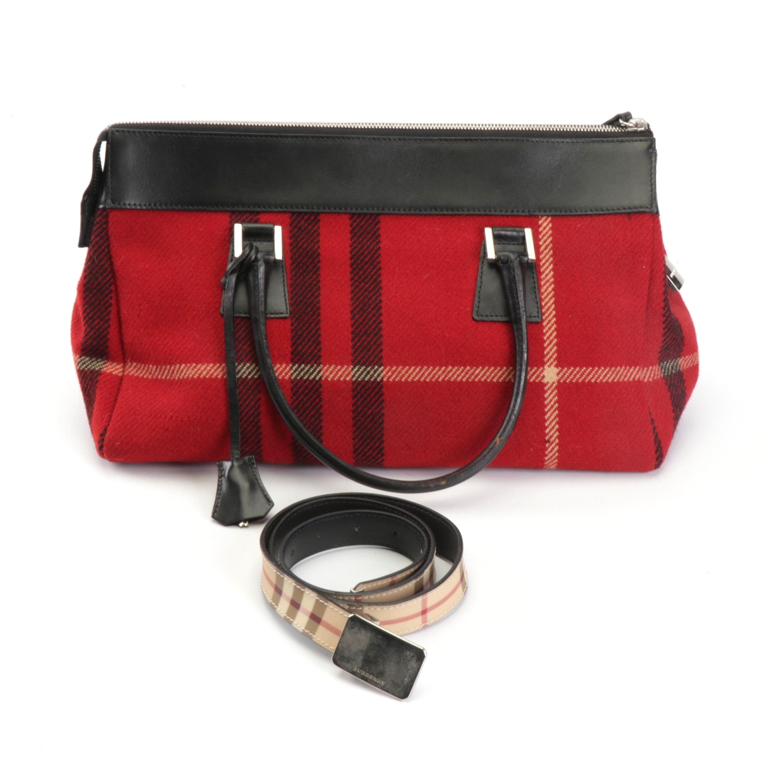 Burberry London Plaid Wool and Leather Handbag and Plaid Leather Belt