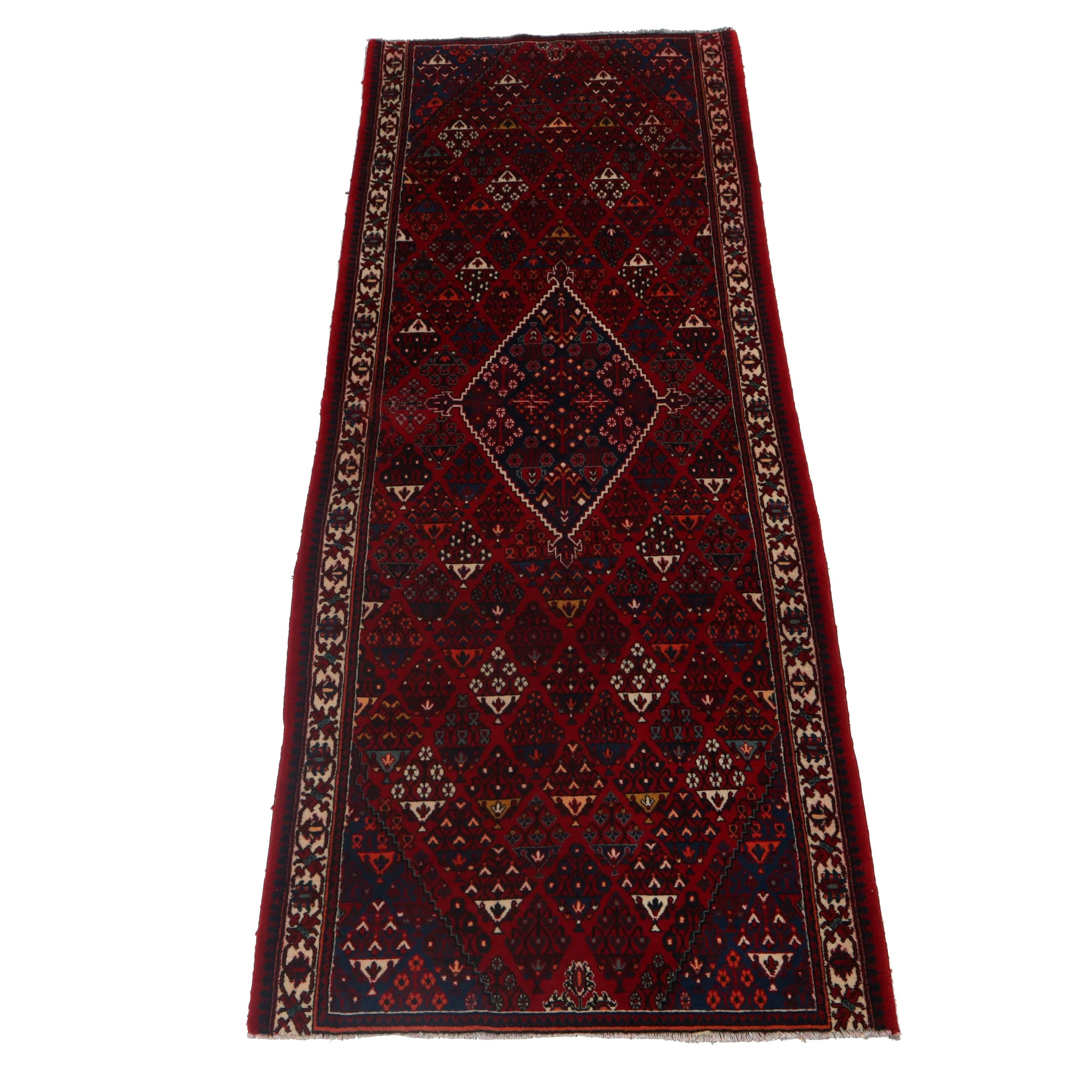 3.9' x 9.5' Hand-Knotted Persian Josheghan Wool Carpet Runner, Circa 1970s