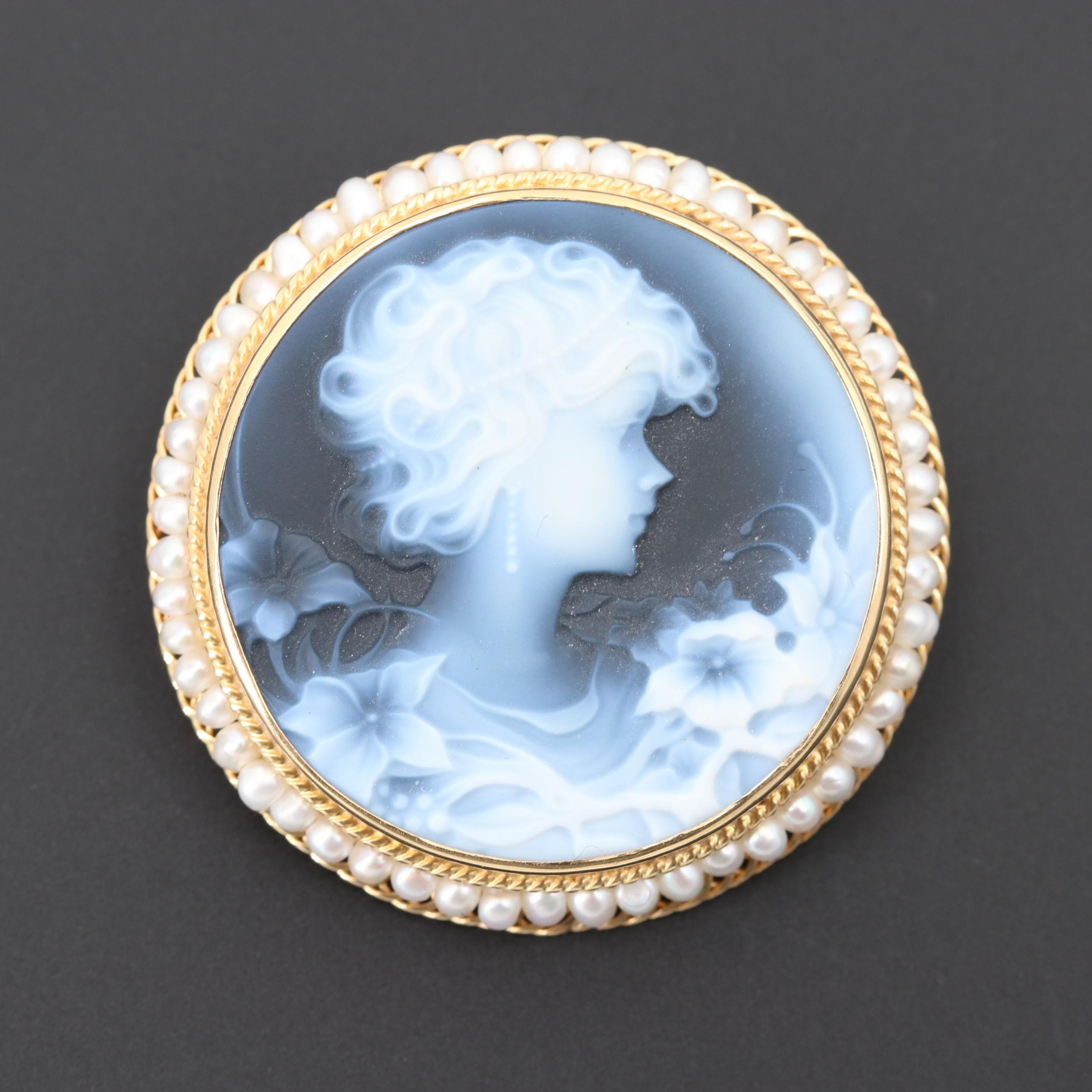 18K Yellow Gold Onyx and Cultured Pearl Cameo Converter Brooch