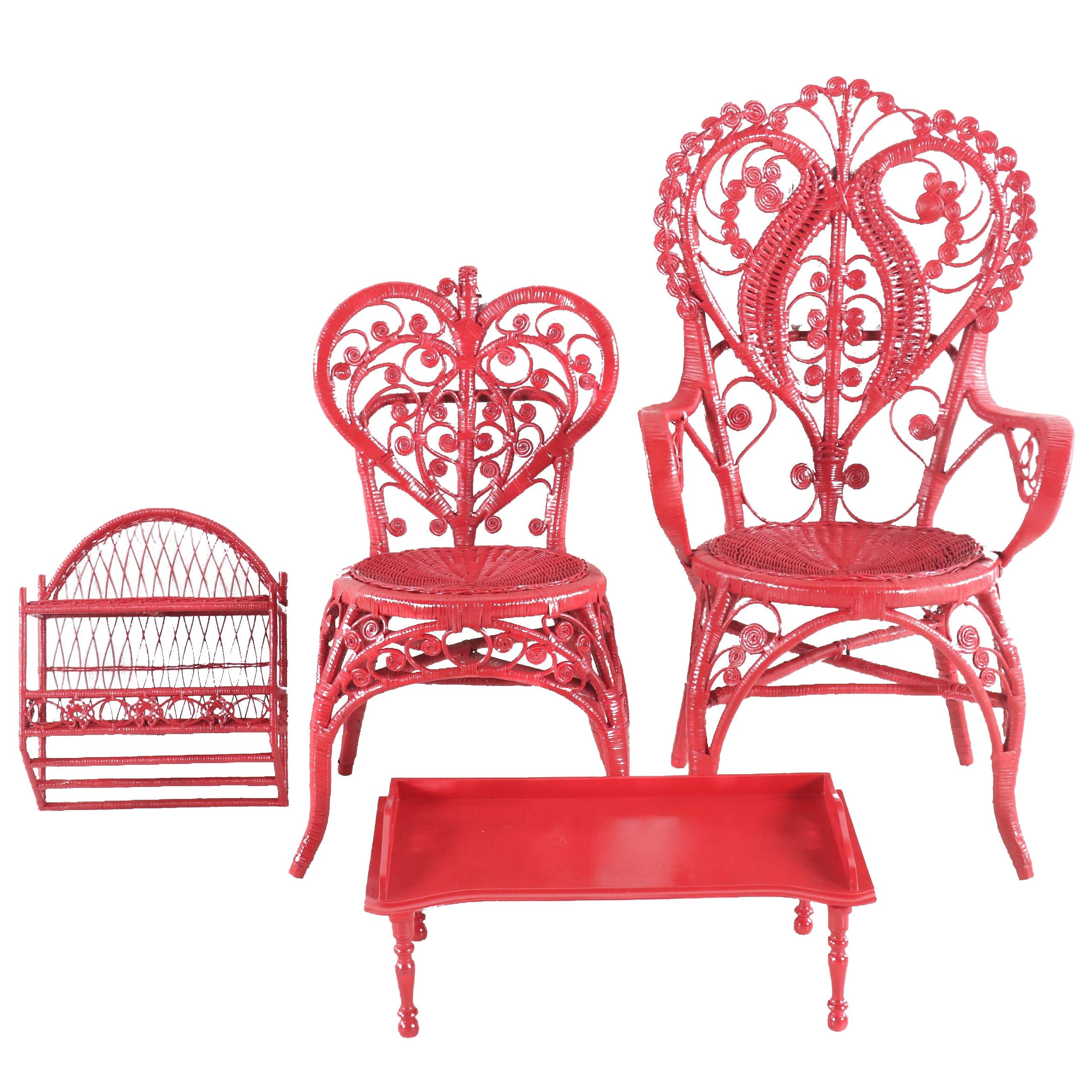 Red-Painted Wicker Chairs, Shelf, and Bedside Table