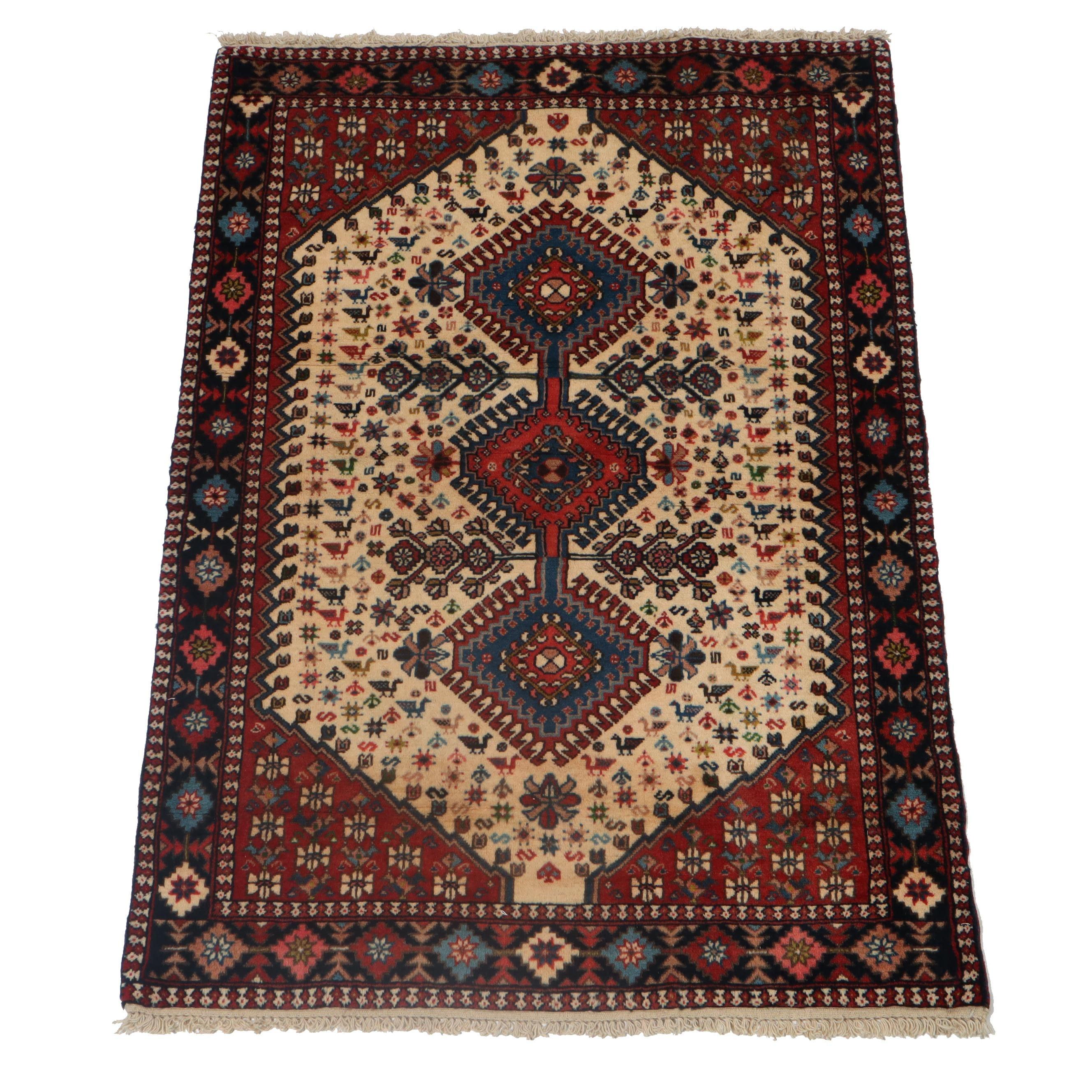3.5' x 5' Hand-Knotted Persian Yalameh Shiraz Wool Rug, Circa 1970s